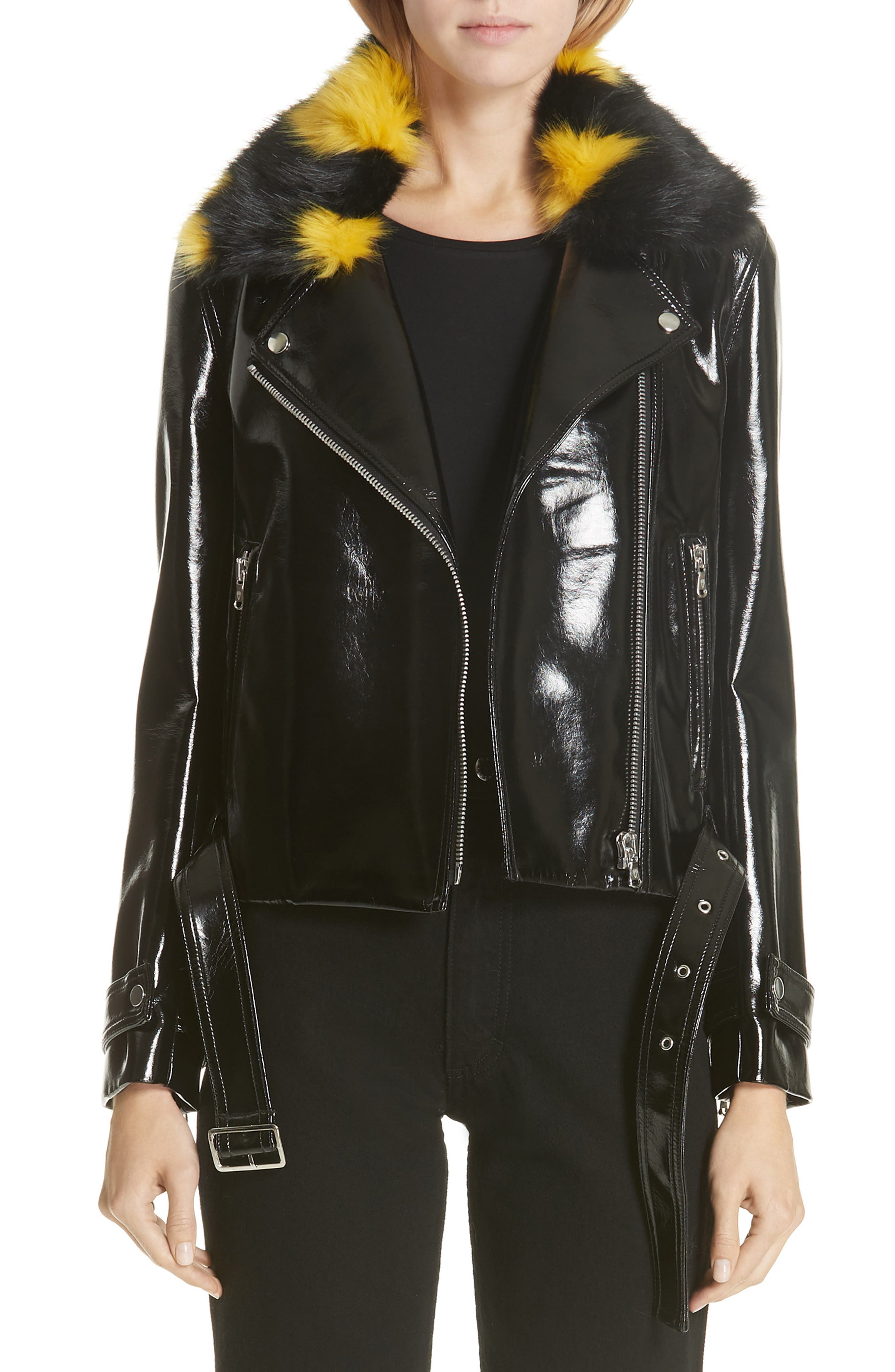 SHRIMPS Faux Leather Moto Jacket With Removable Faux Fur Collar in Black