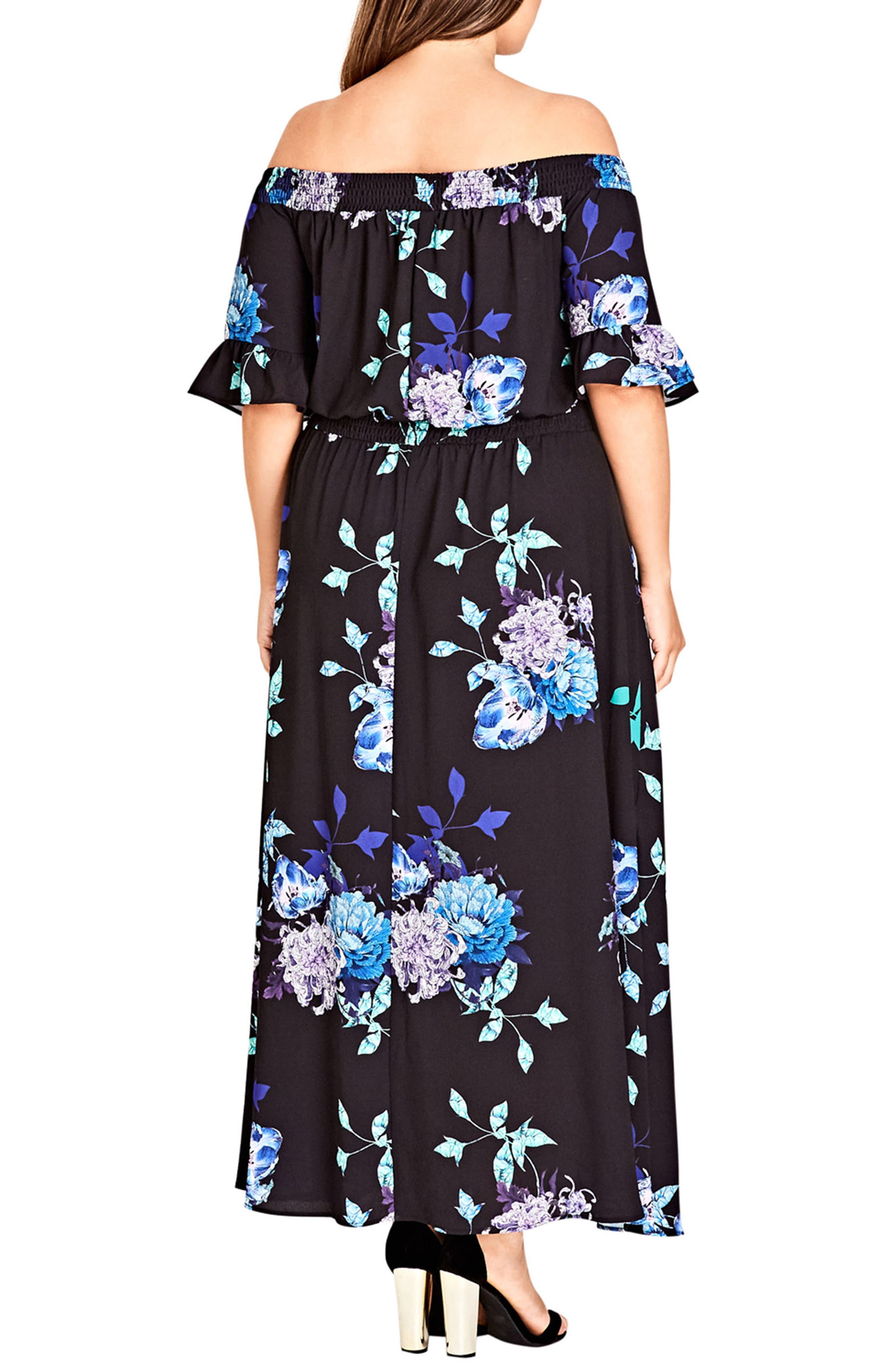 Suzu Floral Maxi Off the Shoulder Dress,                             Alternate thumbnail 2, color,                             SUZU FLORAL