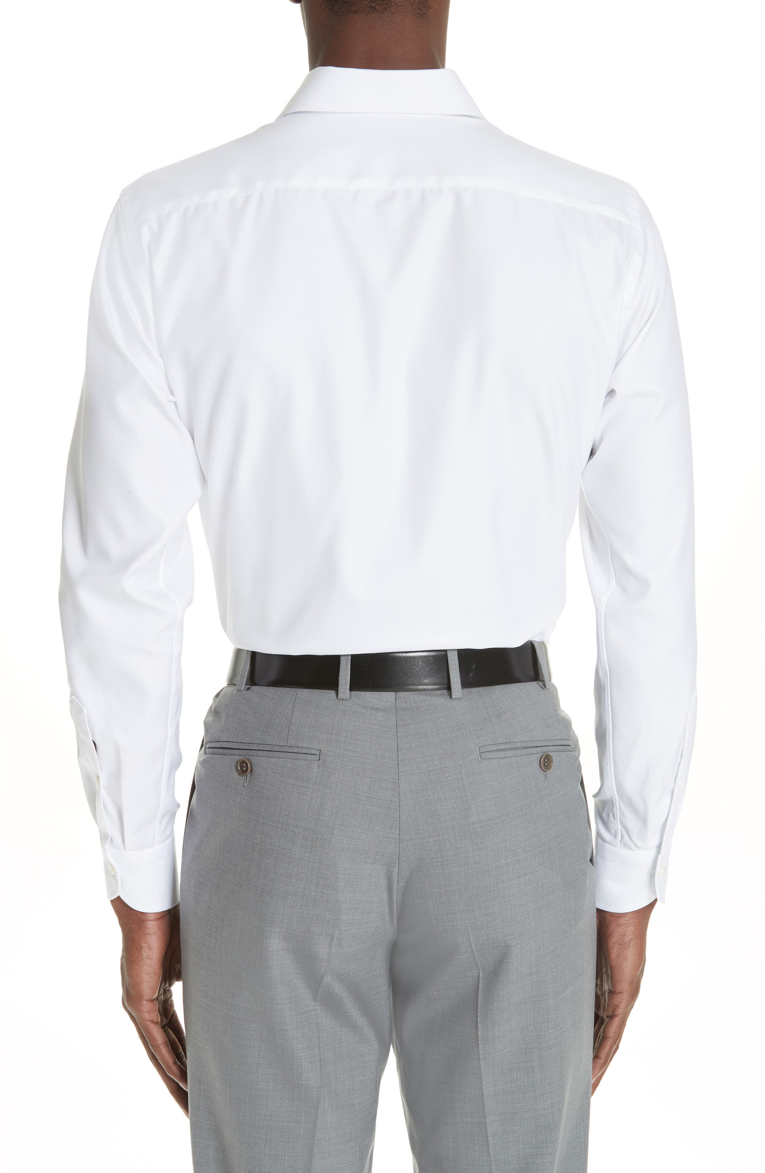 Regular Fit Solid Dress Shirt,                             Alternate thumbnail 3, color,                             WHITE