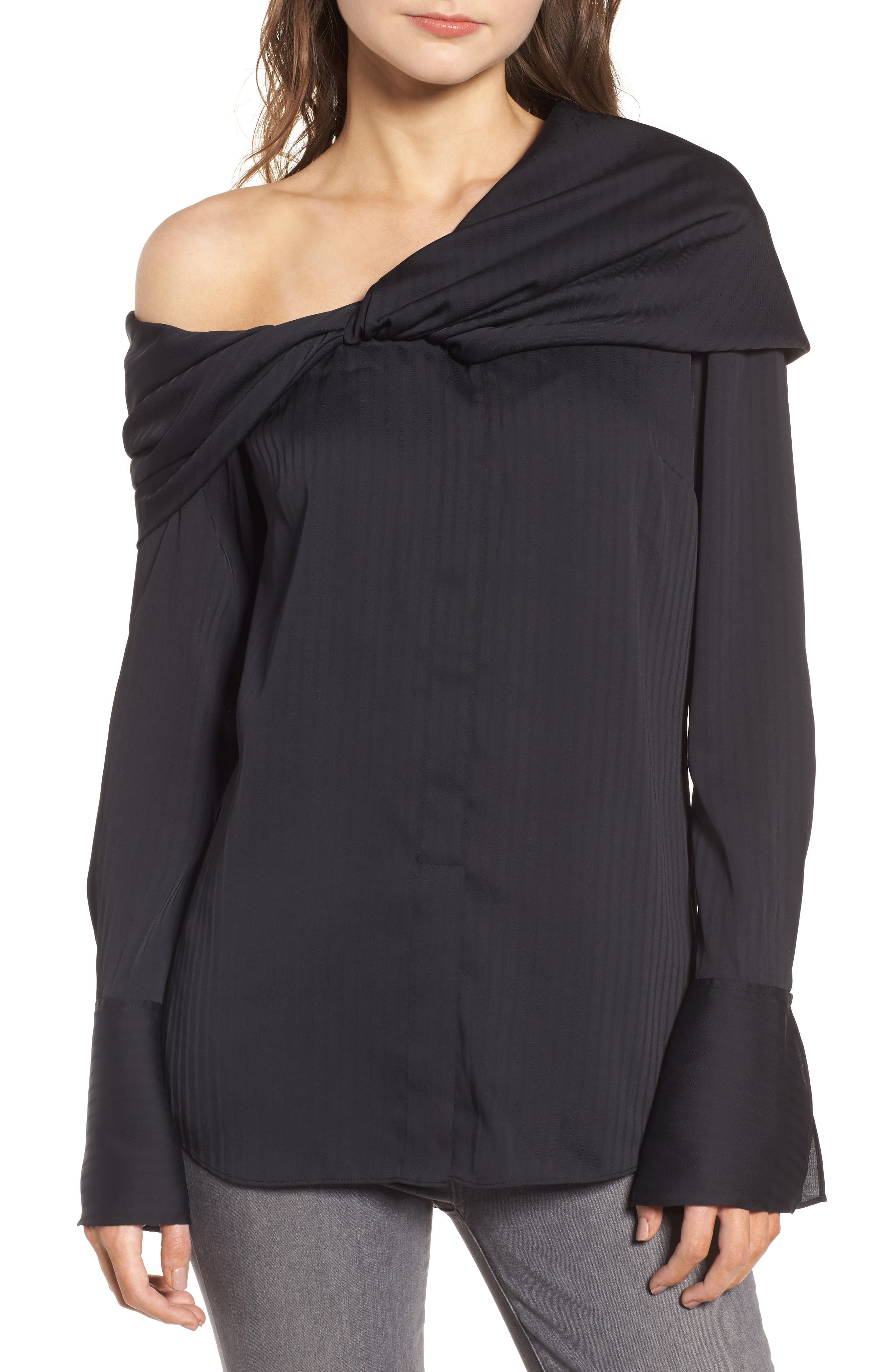 Draped One-Shoulder Top,                         Main,                         color, 001