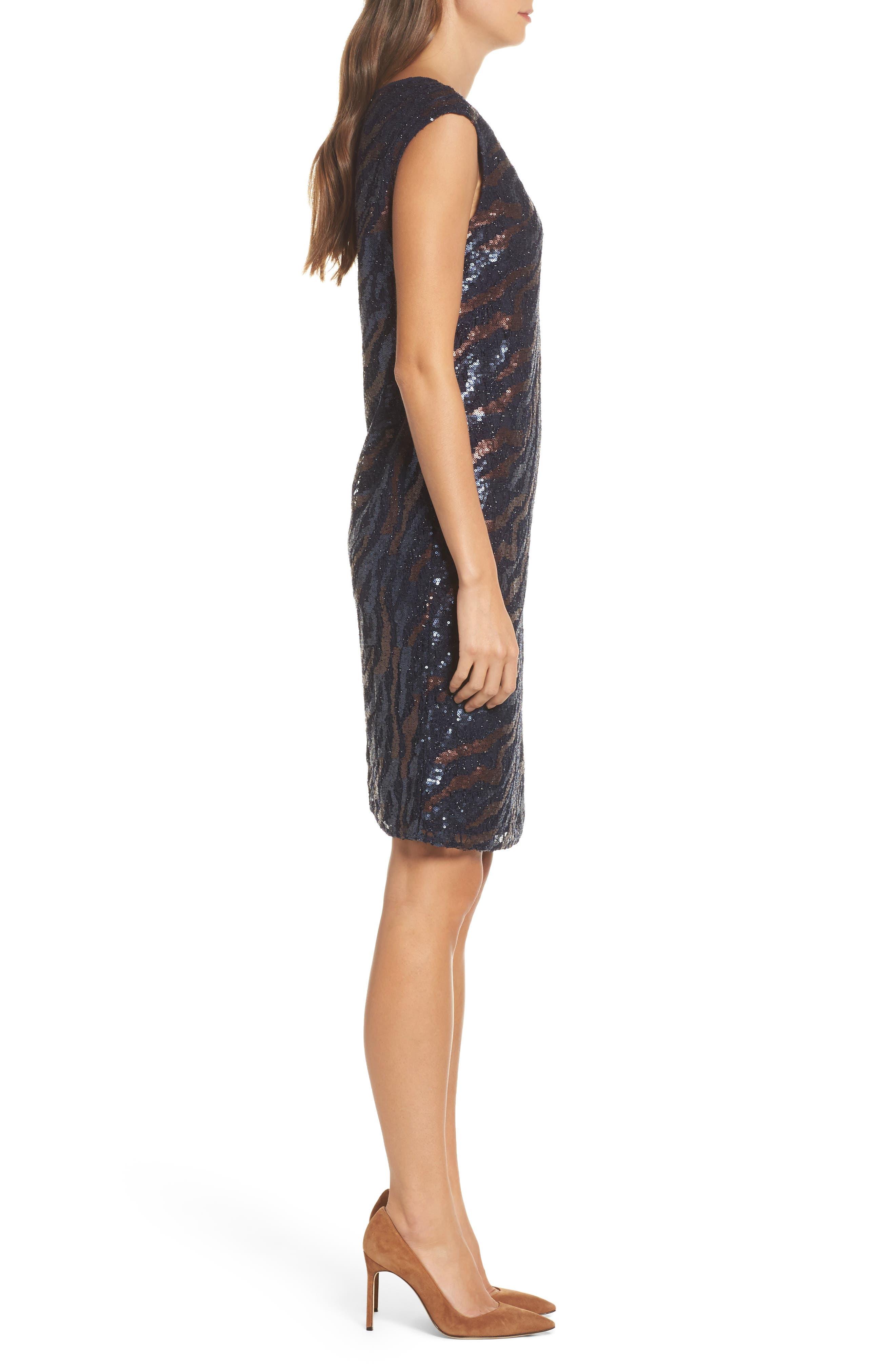 NIC + Zoe Sequin Lace Shift Dress,                             Alternate thumbnail 3, color,                             229
