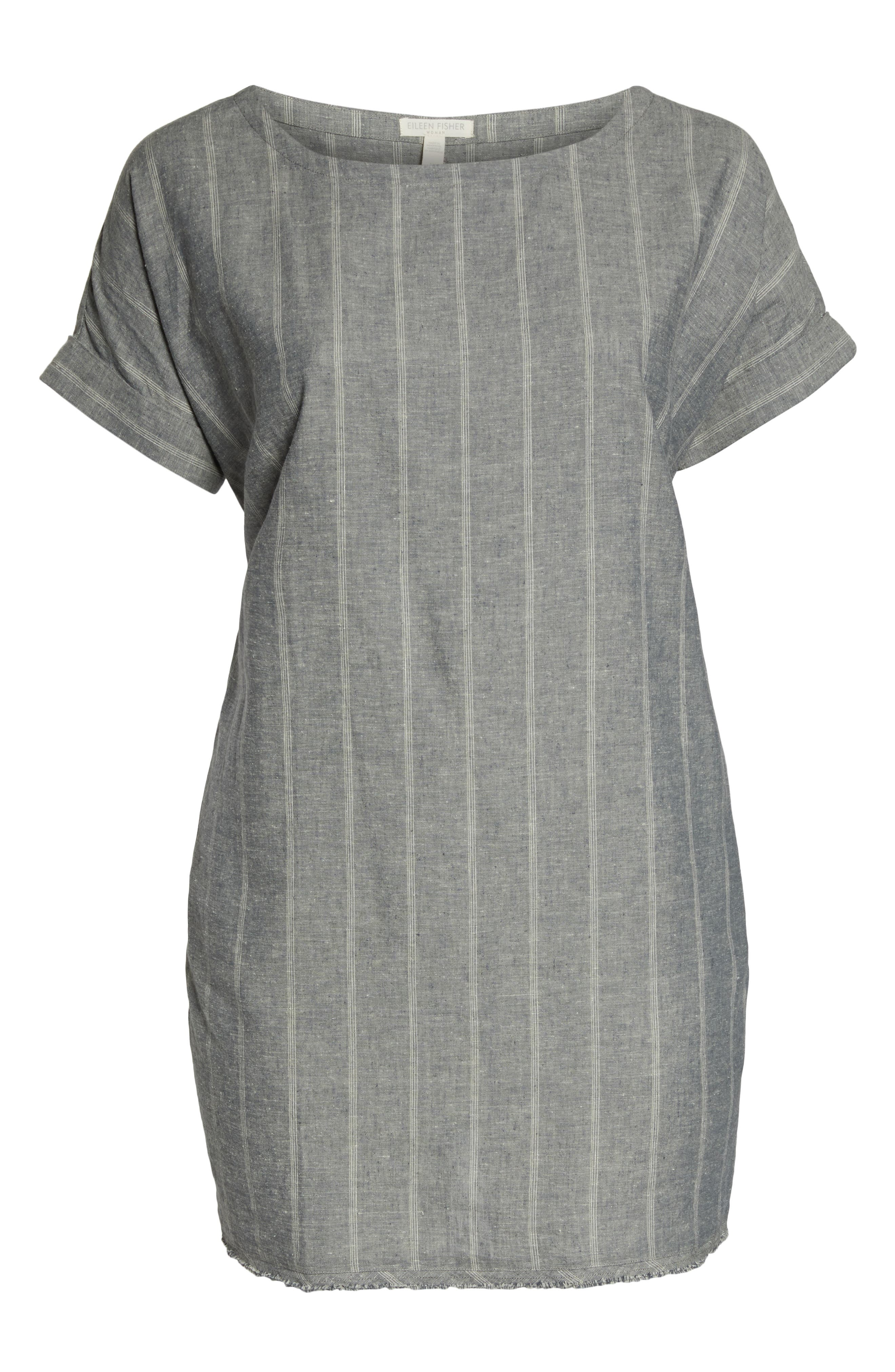 EILEEN FISHER,                             Stripe Hemp & Organic Cotton Shift Dress,                             Alternate thumbnail 7, color,                             MOON