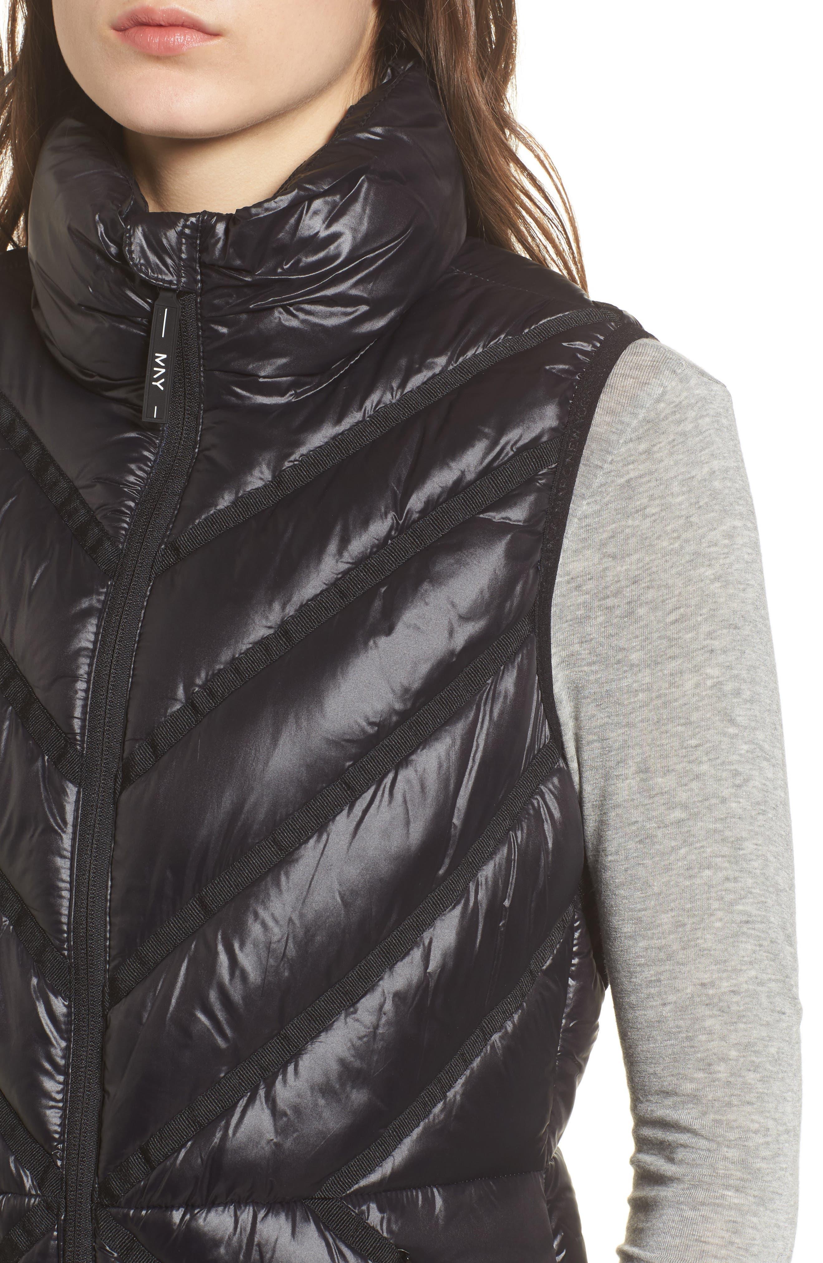 Chevron Quilt Puffer Vest,                             Alternate thumbnail 4, color,                             001