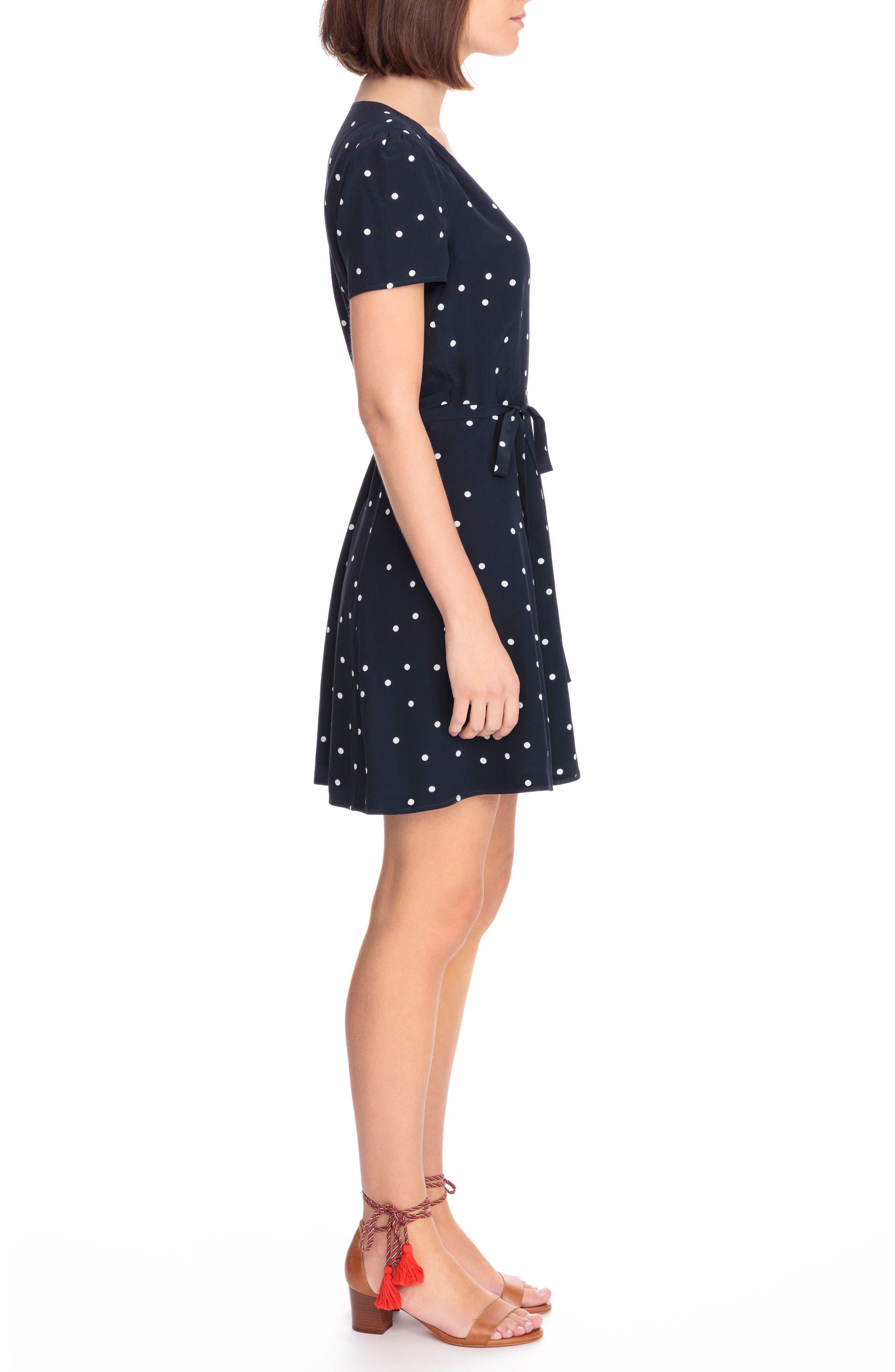 Anastasia Silk Wrap Dress,                             Alternate thumbnail 3, color,                             400