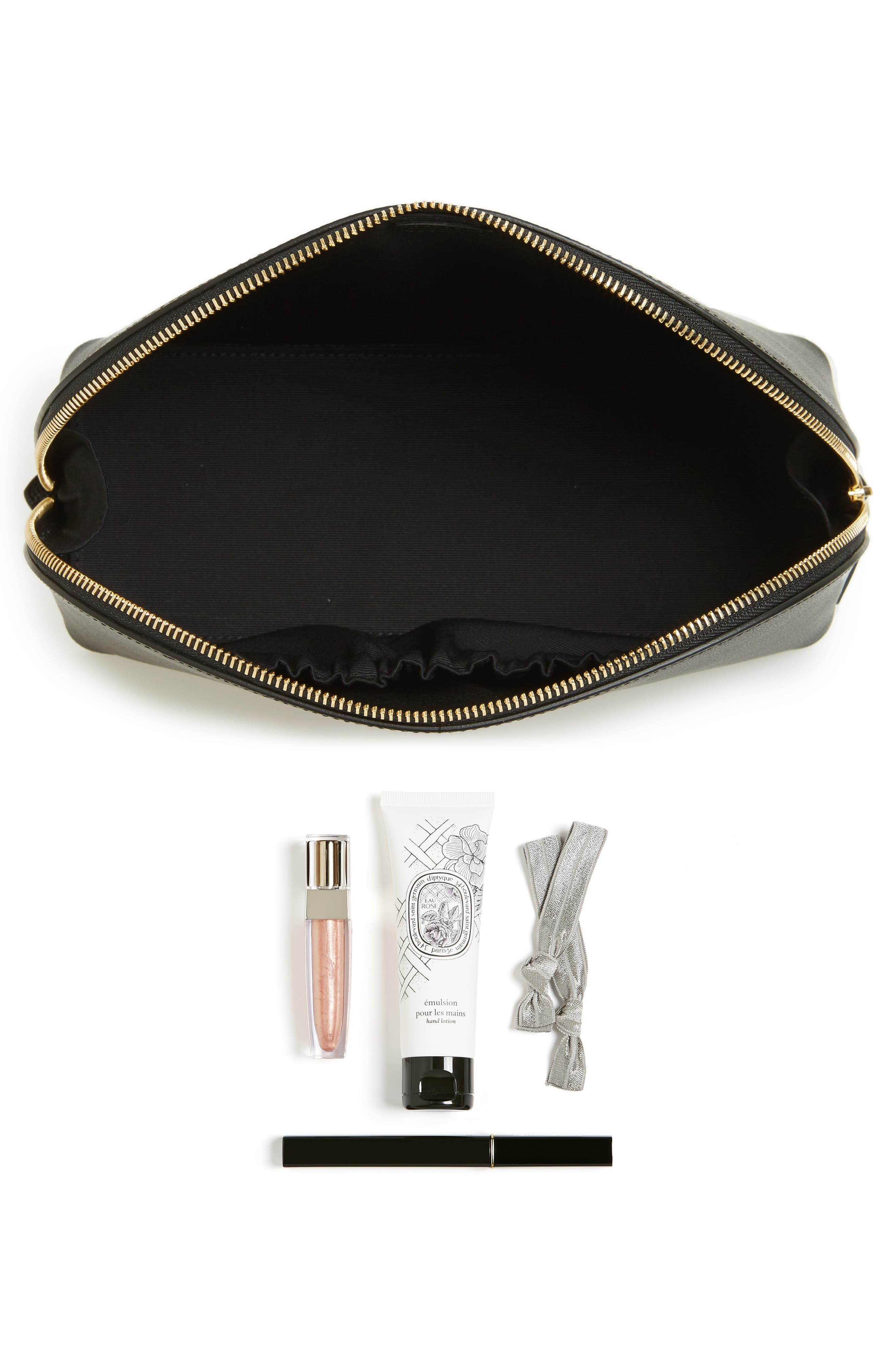 Medium Leather Cosmetics Bag,                             Alternate thumbnail 2, color,                             BLACK