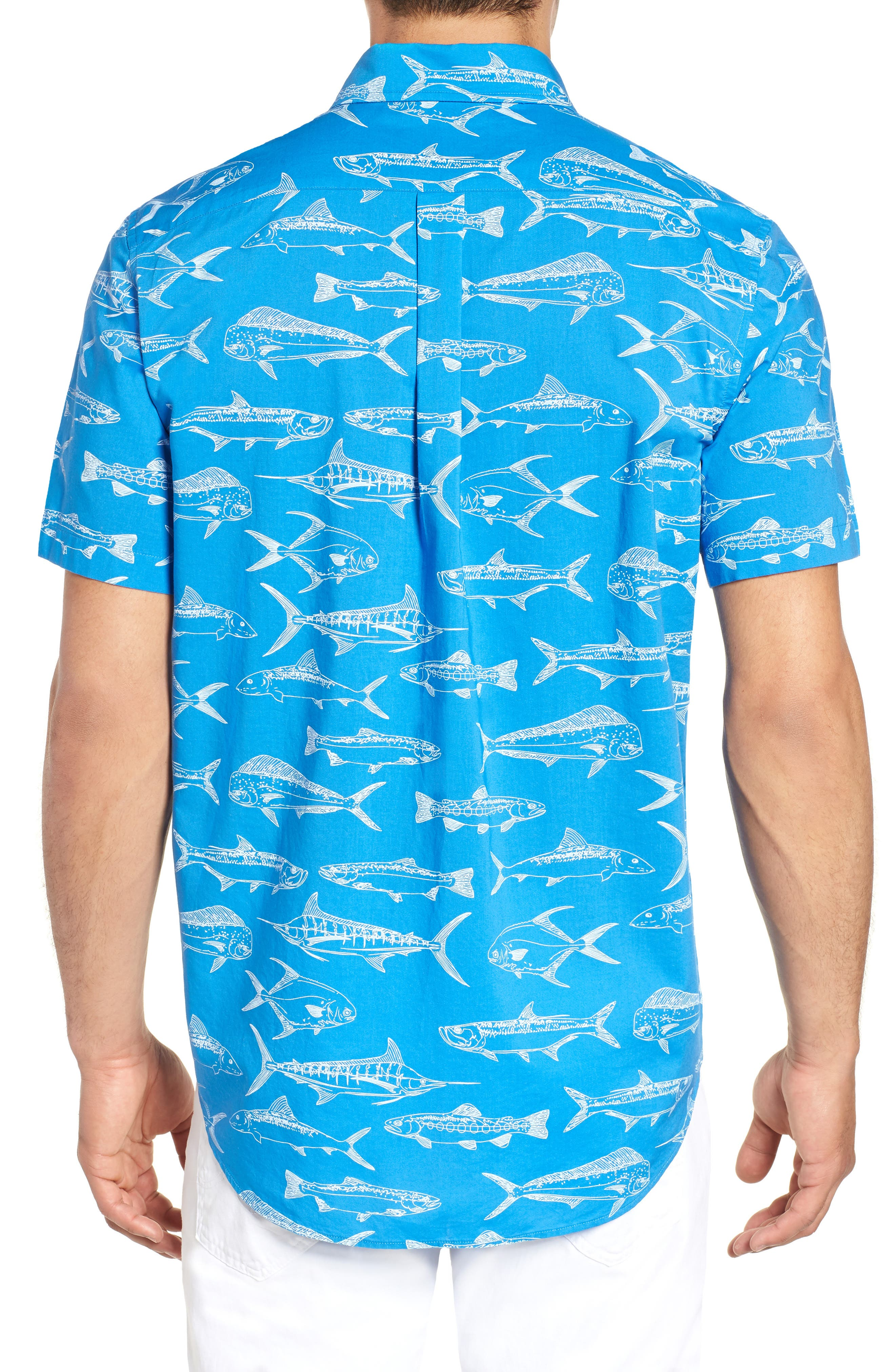 Fish Outlines Classic Fit Sport Shirt,                             Alternate thumbnail 3, color,                             421