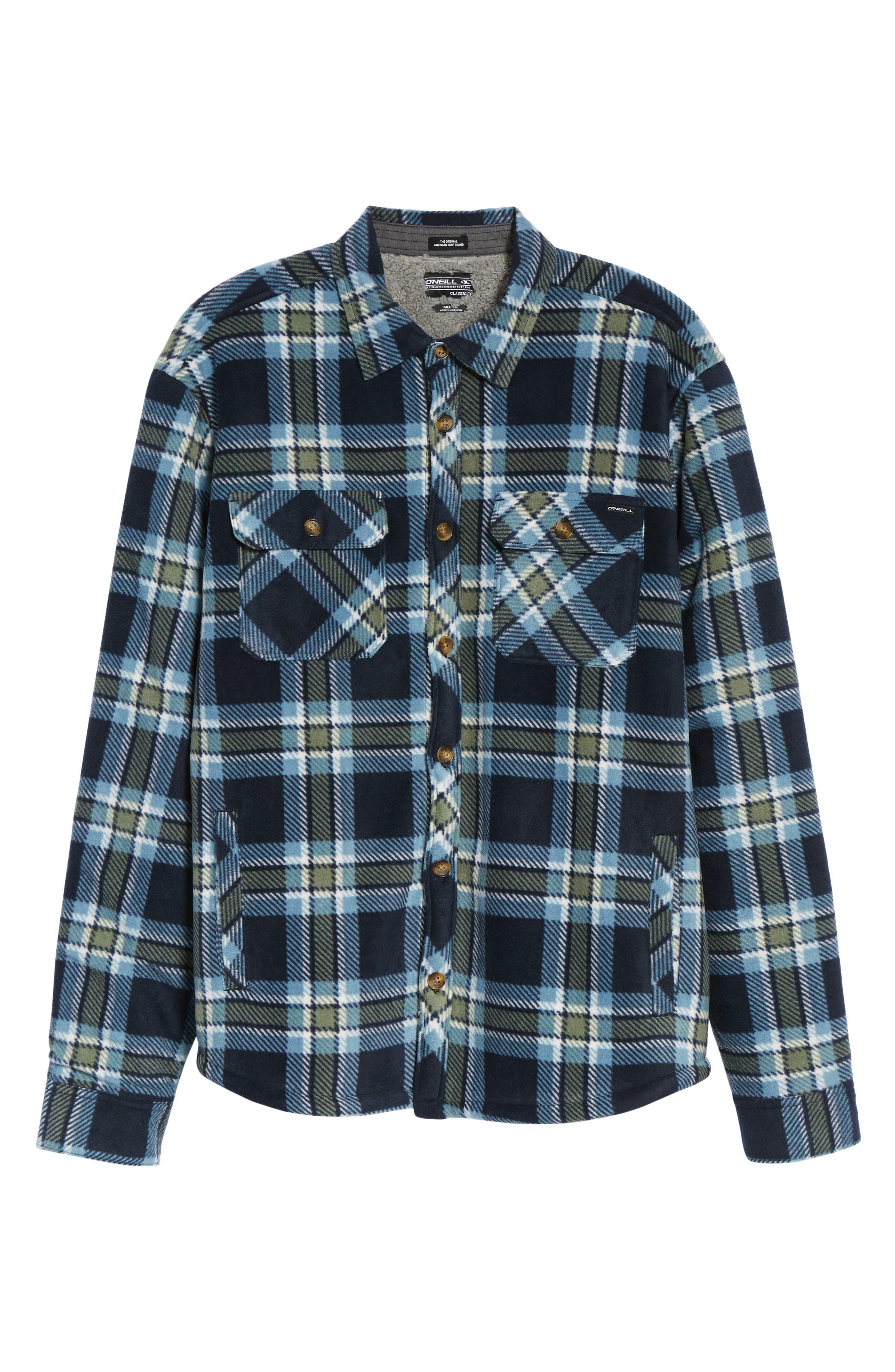 Glacier Heat Dome Plaid Fleece Shirt,                             Alternate thumbnail 12, color,