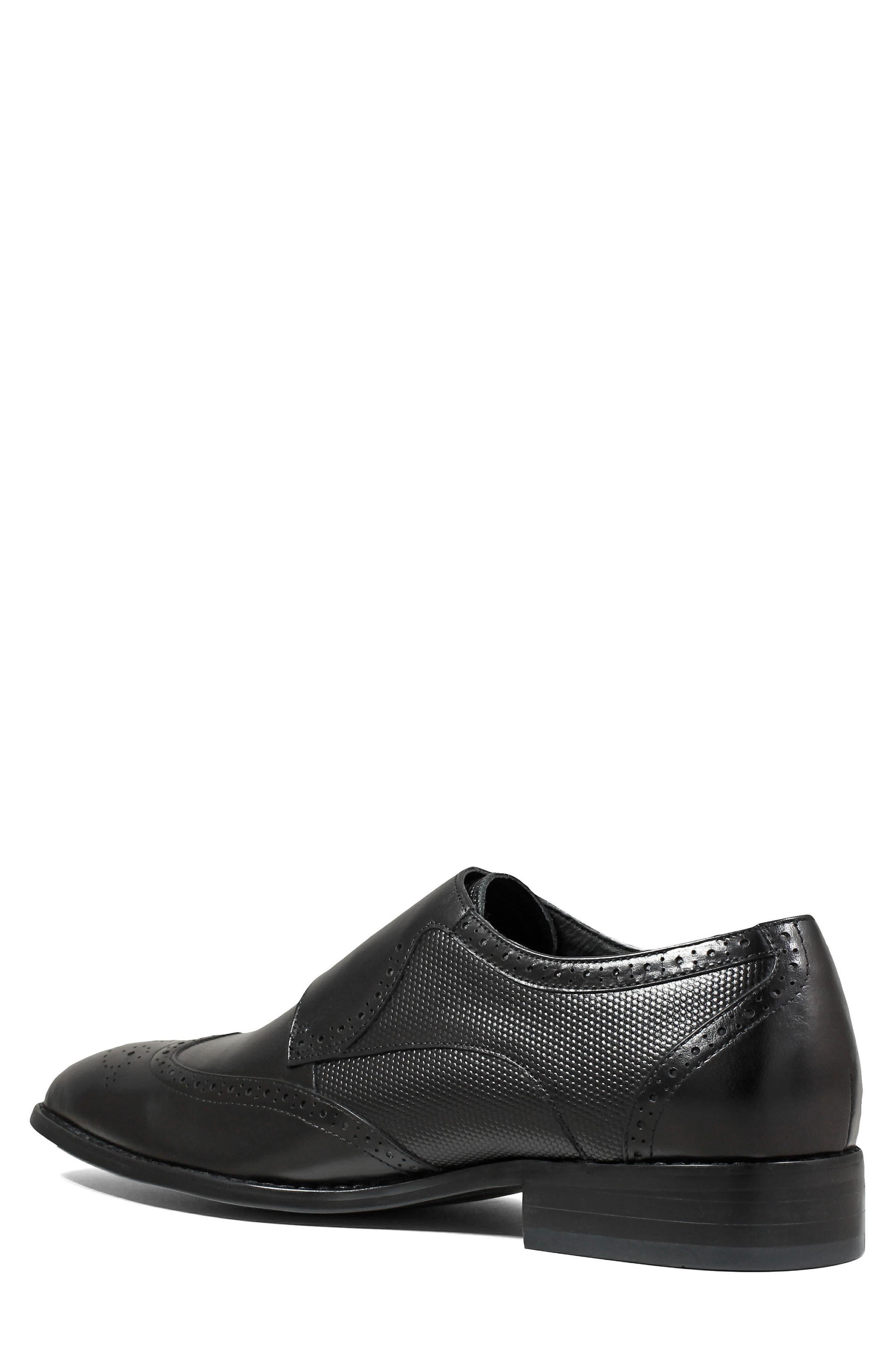 Lavine Wingtip Monk Shoe,                             Alternate thumbnail 2, color,                             BLACK LEATHER