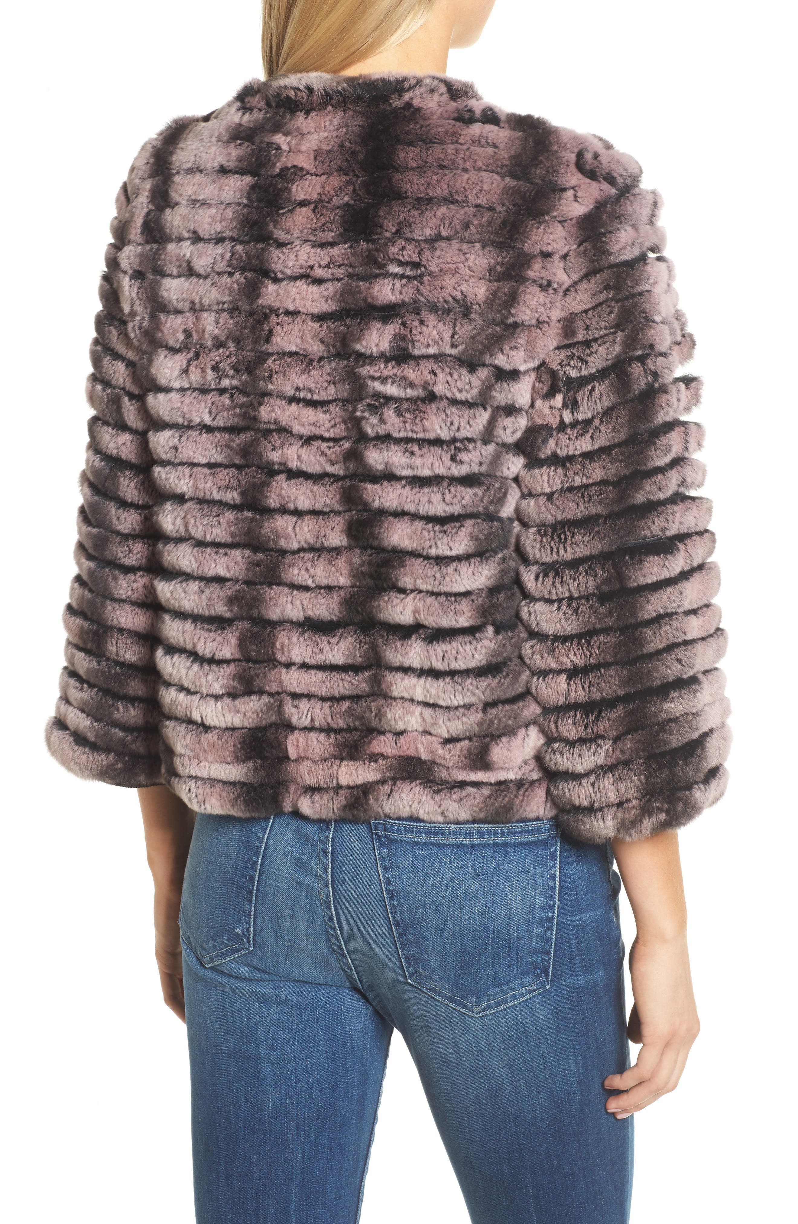 Genuine Rabbit Fur Crop Jacket,                             Alternate thumbnail 4, color,