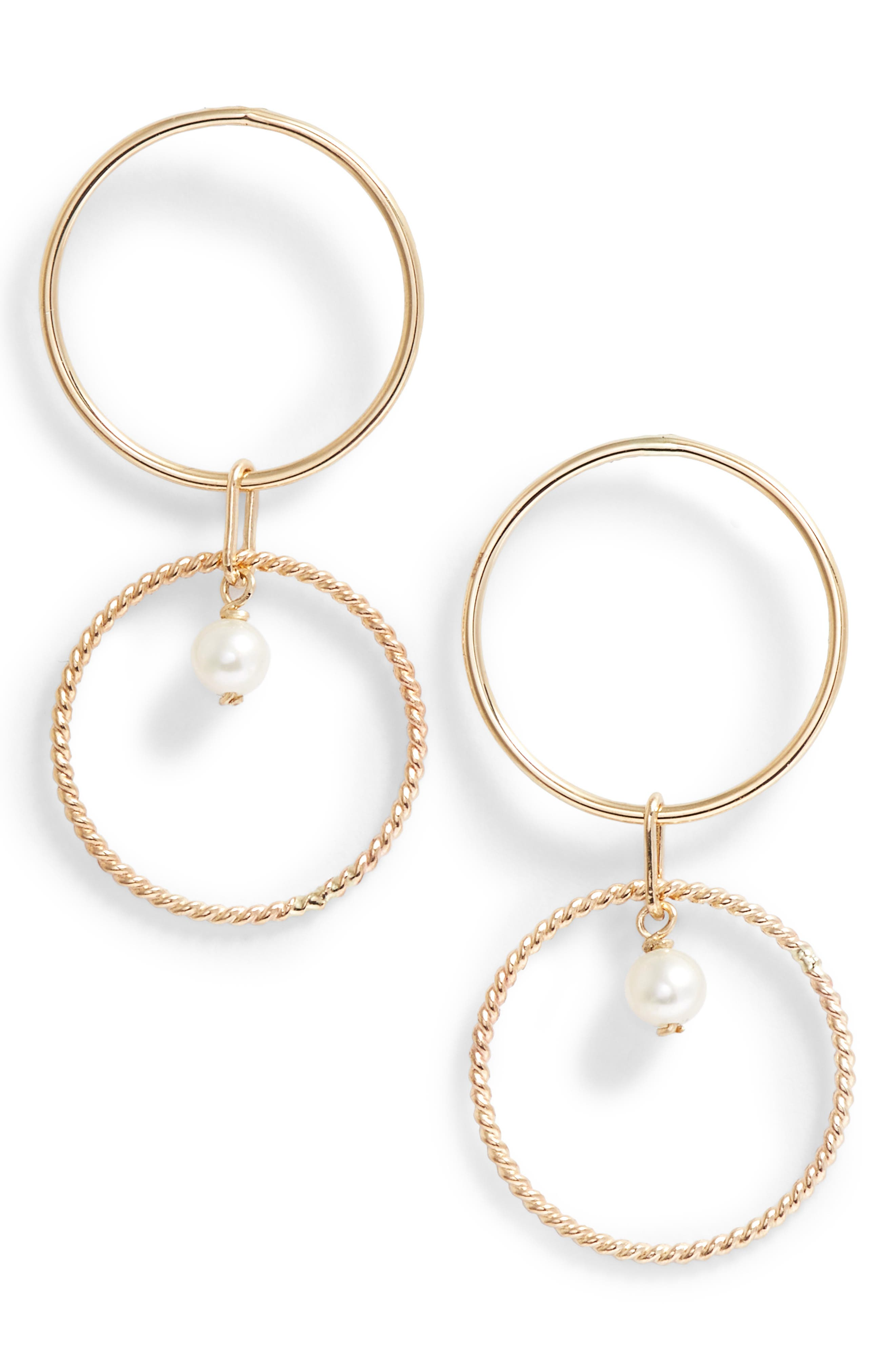 Pearl Double Hoop Earrings,                         Main,                         color, YELLOW GOLD/ WHITE PEARL