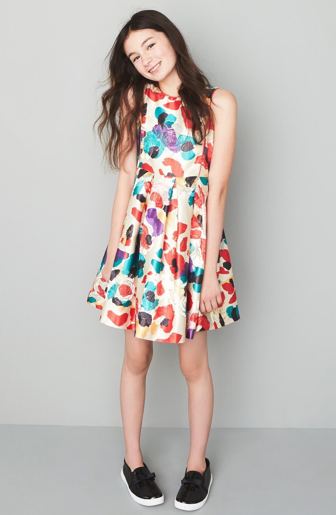 Watercolor Floral Brocade Dress,                             Alternate thumbnail 2, color,                             660