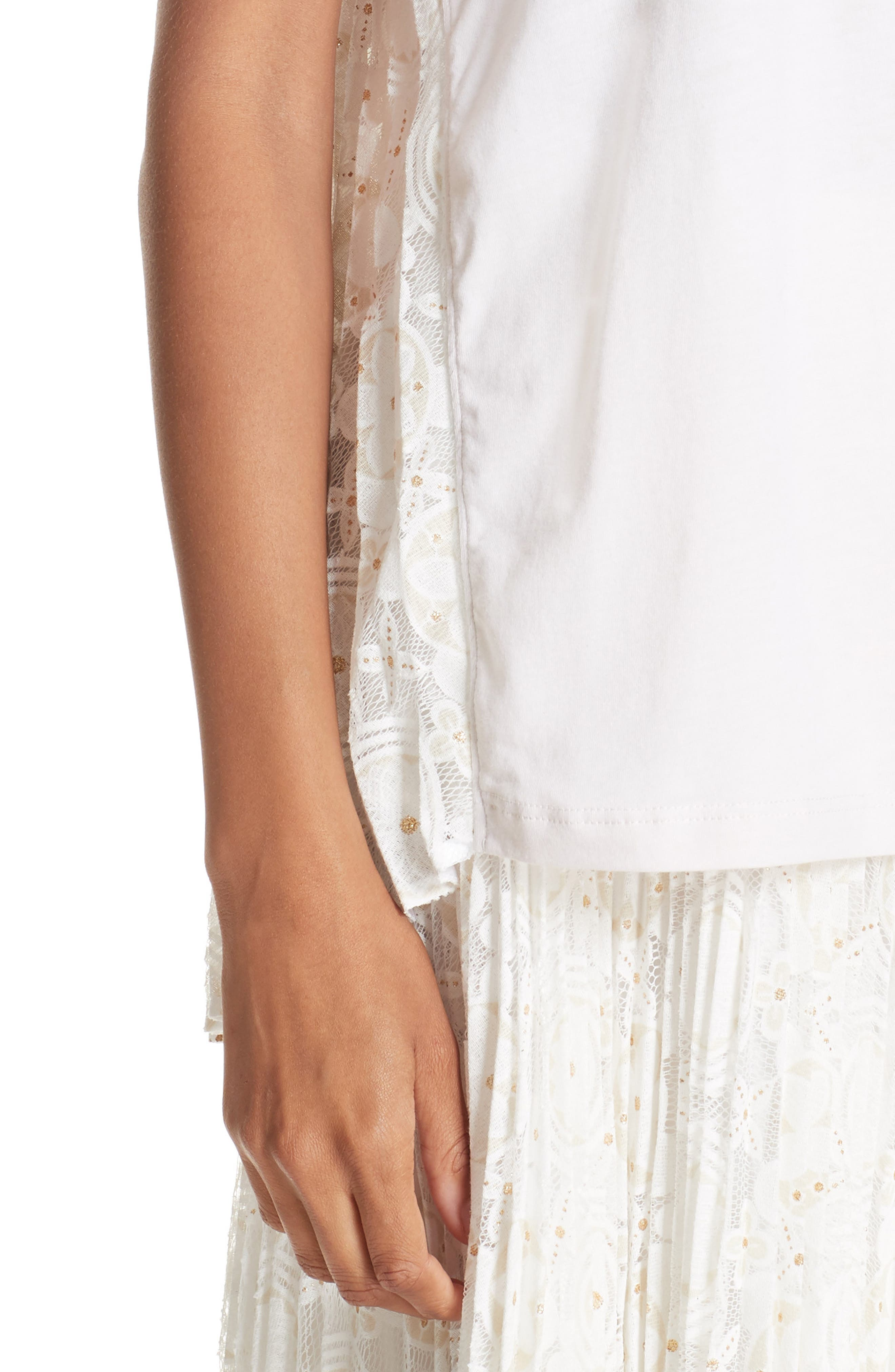 Pleated Floral Lace Tee,                             Alternate thumbnail 4, color,                             WINTER WHITE