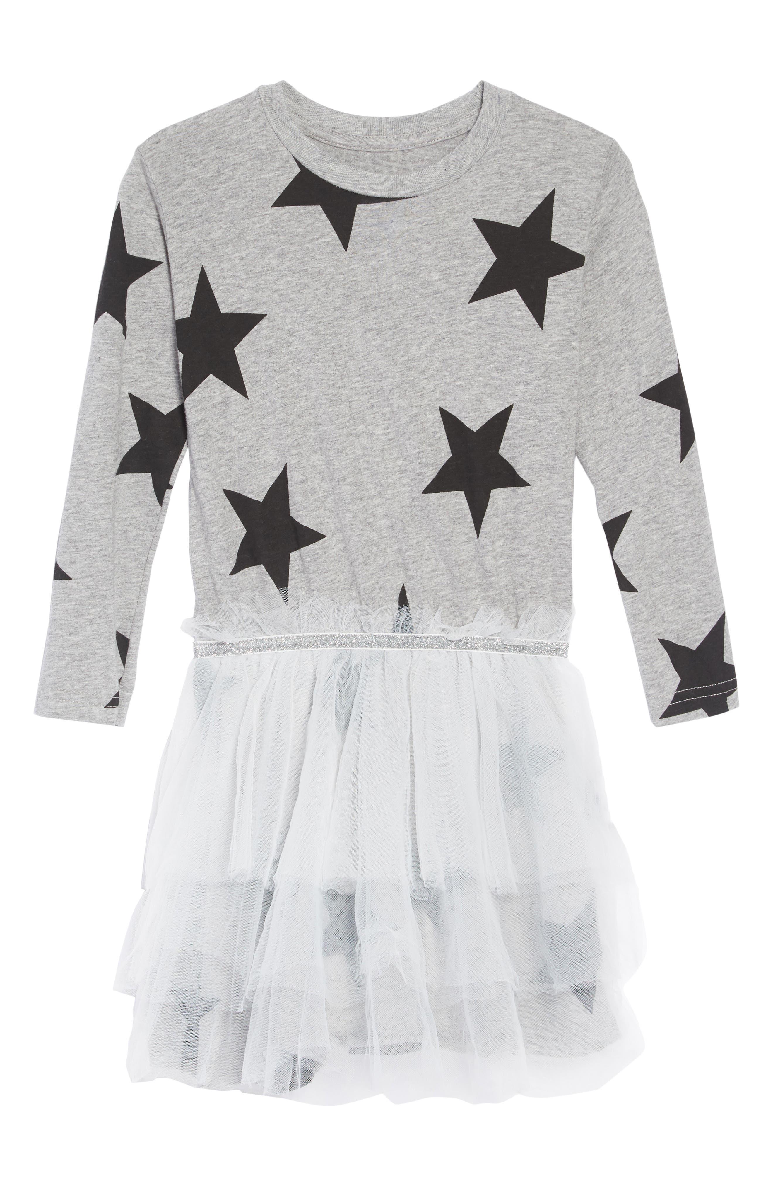 Star Tulle Dress,                             Main thumbnail 1, color,                             HEATHER GREY