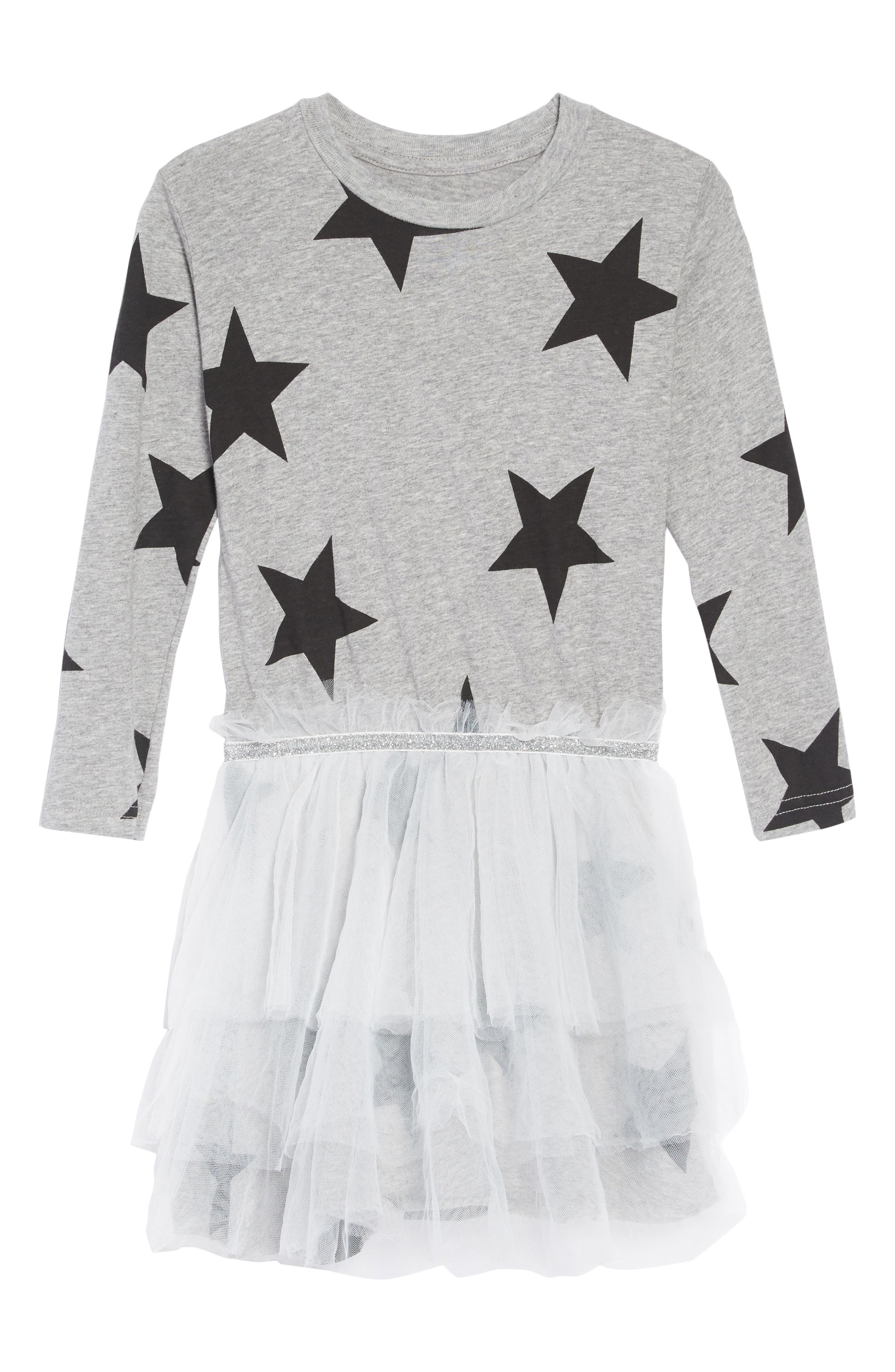 Star Tulle Dress,                         Main,                         color, HEATHER GREY