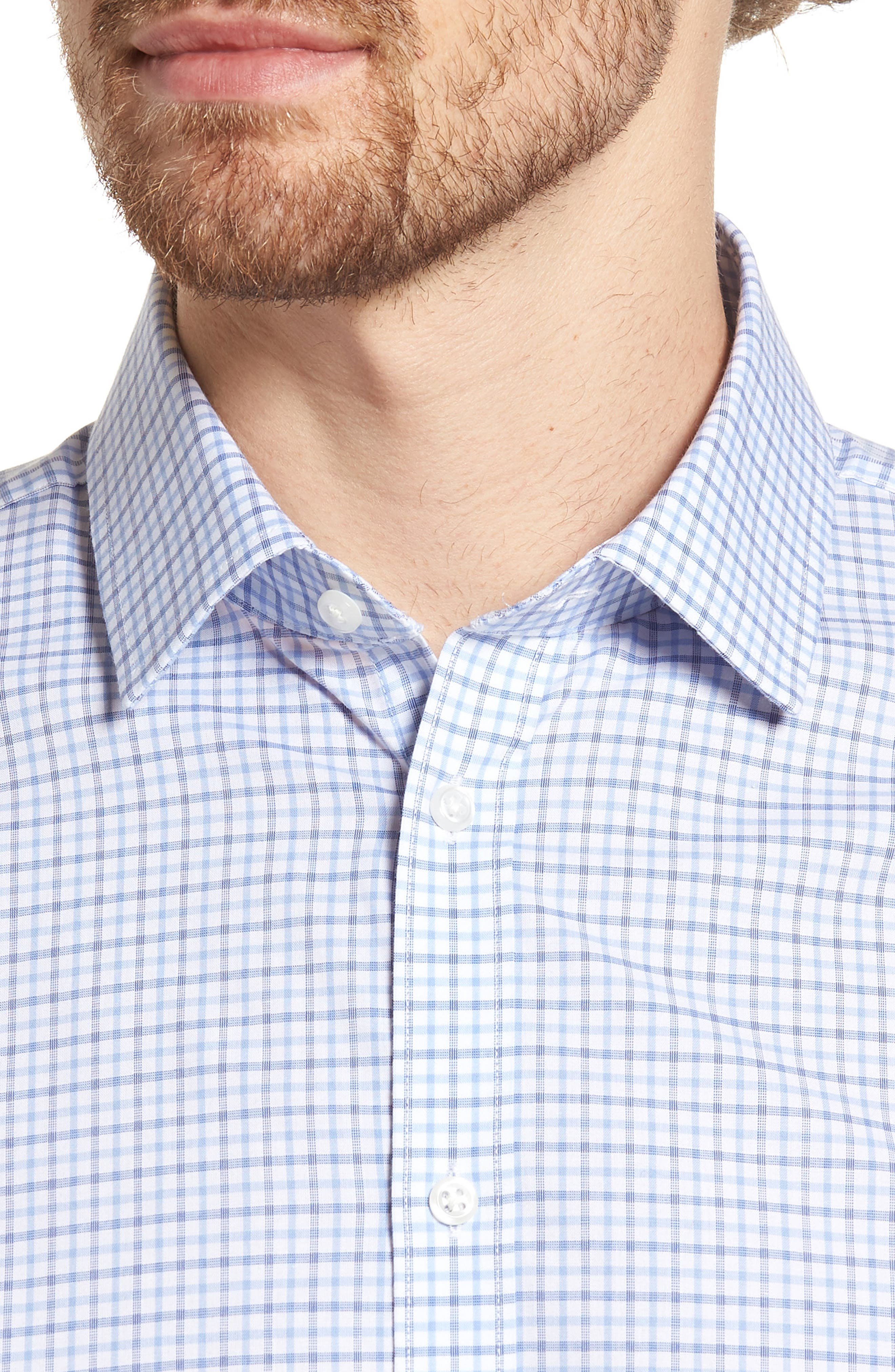 Extra Trim Fit Check Dress Shirt,                             Alternate thumbnail 7, color,
