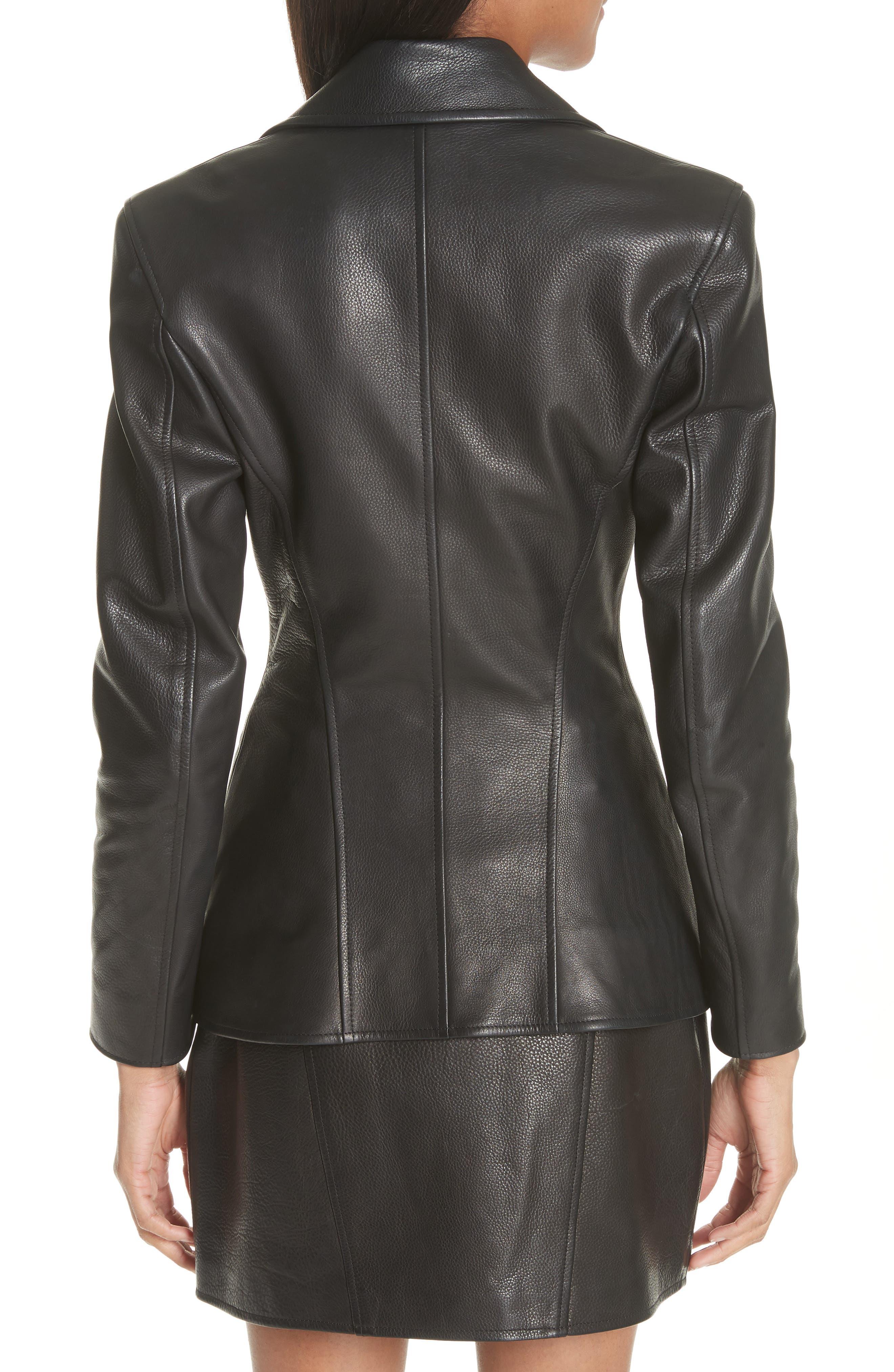 Zip Front Leather Blazer,                             Alternate thumbnail 2, color,                             BLACK