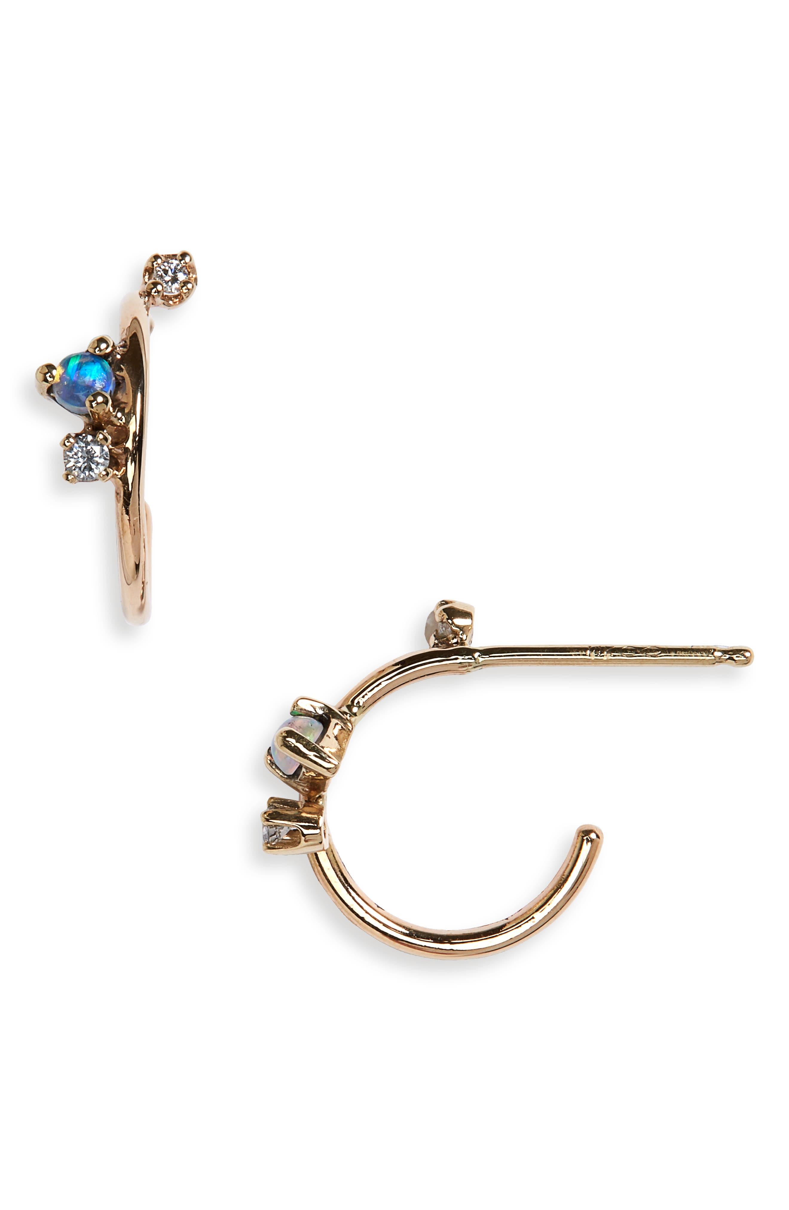 WWAKE Organic Mini Opal & Diamond Hoop Earrings in Gold