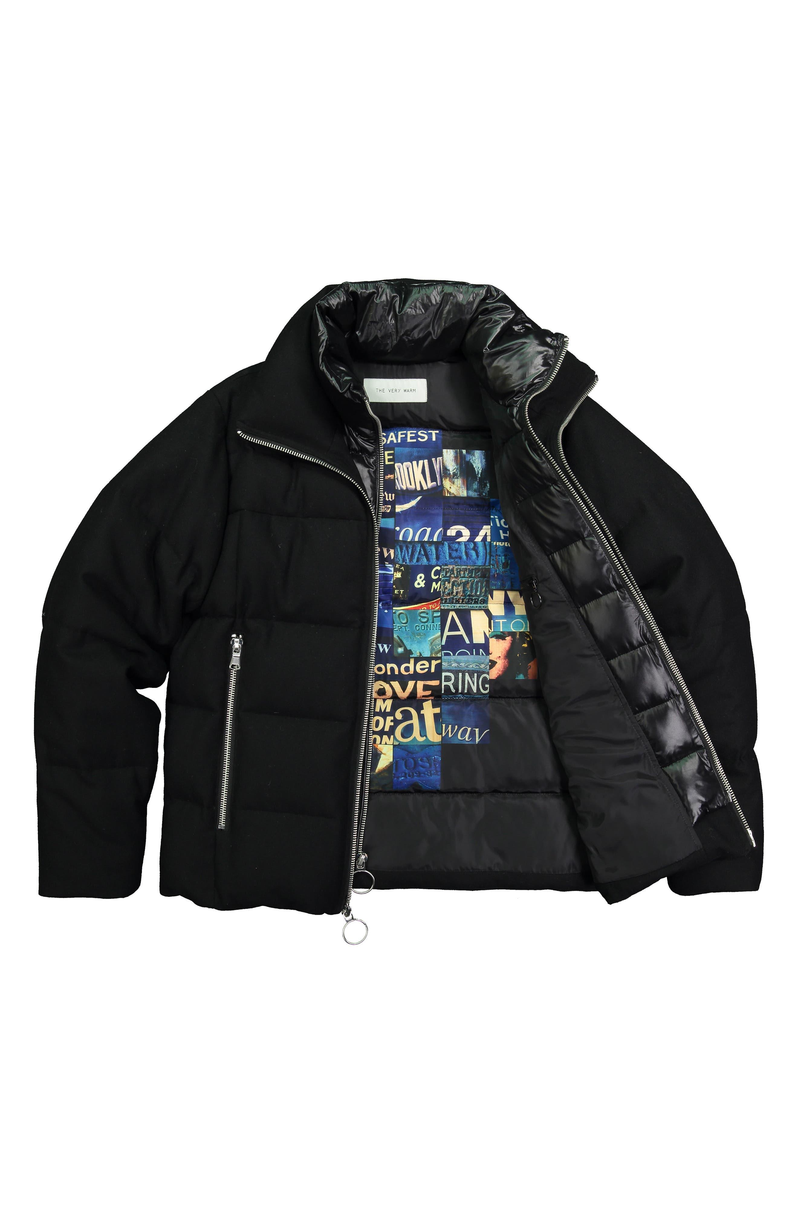 Wool Blend Puffer Jacket,                             Alternate thumbnail 7, color,                             BLACK