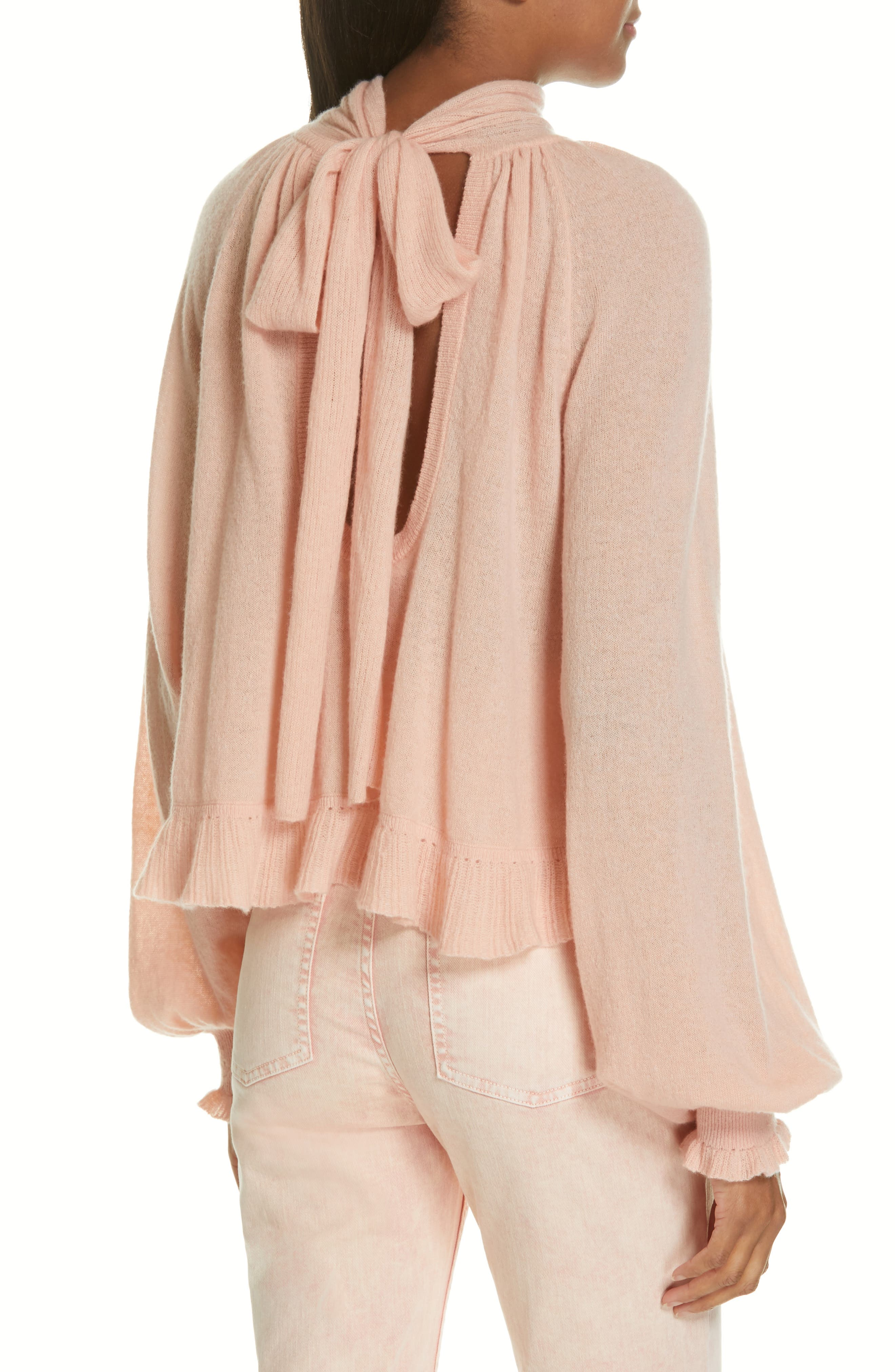 Clover Tie Back Cashmere Blend Sweater,                             Alternate thumbnail 2, color,                             ROSE