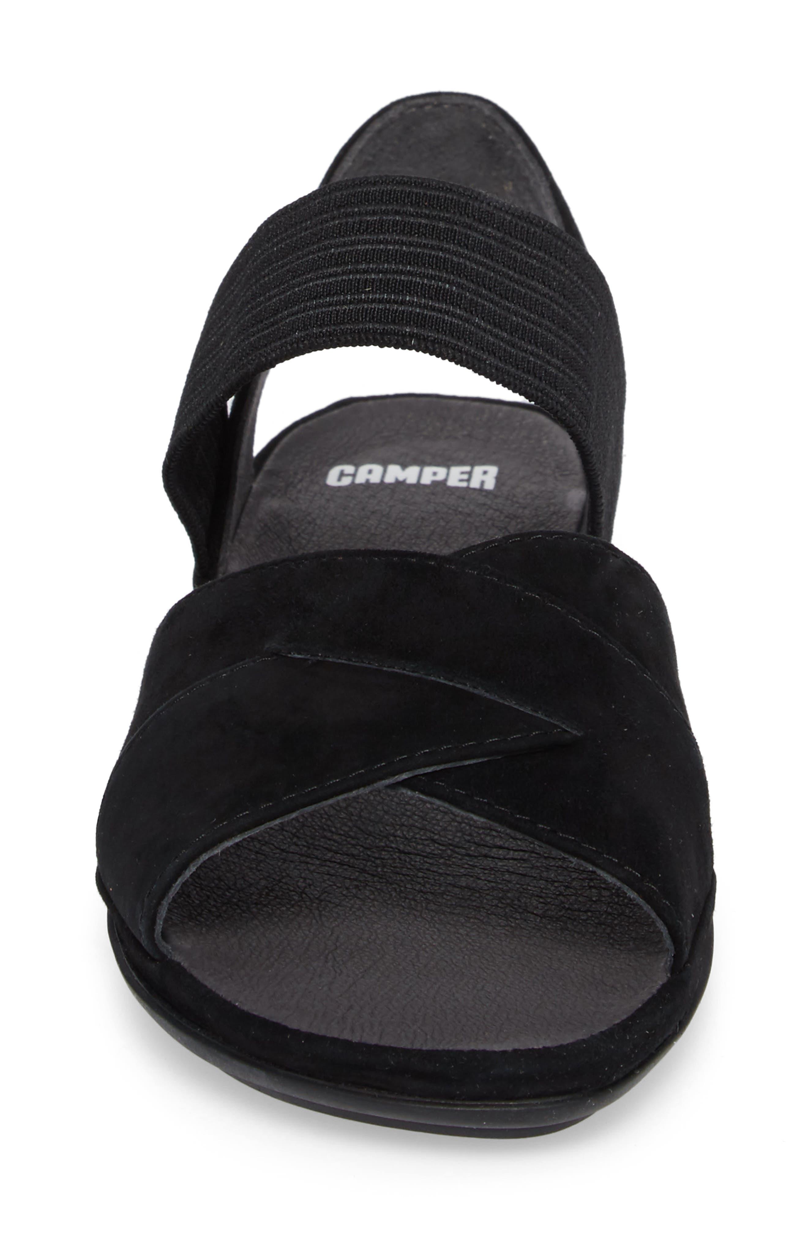 Right Nina Flat Cross Strap Sandal,                             Alternate thumbnail 4, color,                             BLACK LEATHER