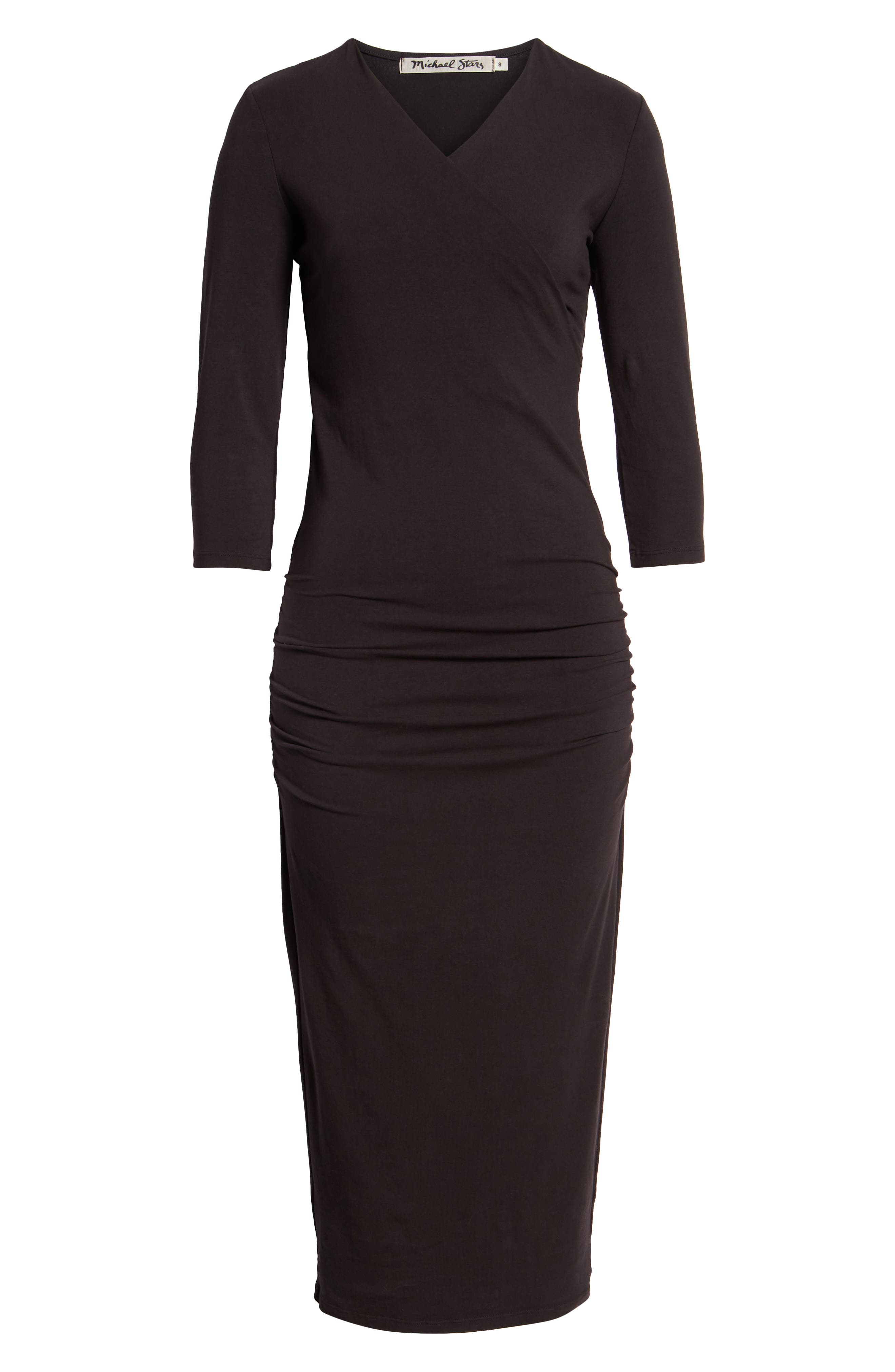 Ruched Surplice Stretch Cotton Body-Con Dress,                             Alternate thumbnail 7, color,                             BLACK