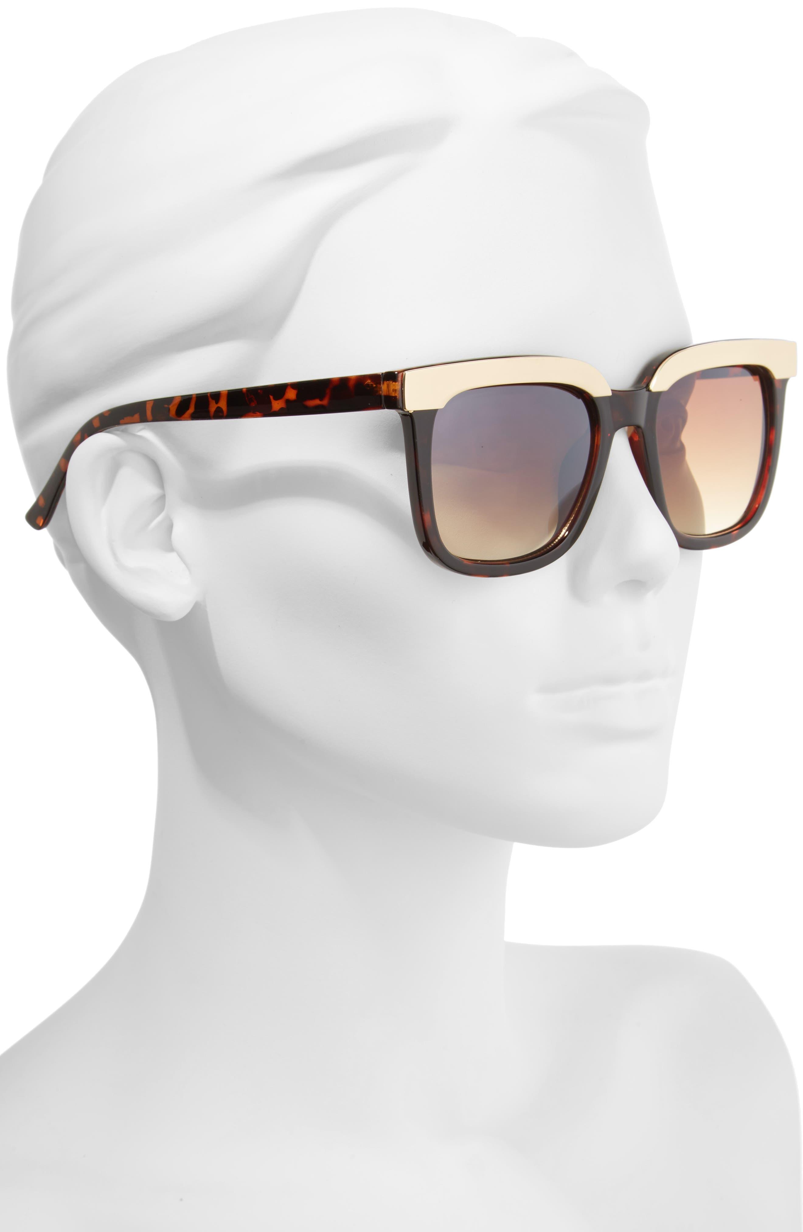 52mm Metal Dipped Square Sunglasses,                             Alternate thumbnail 2, color,