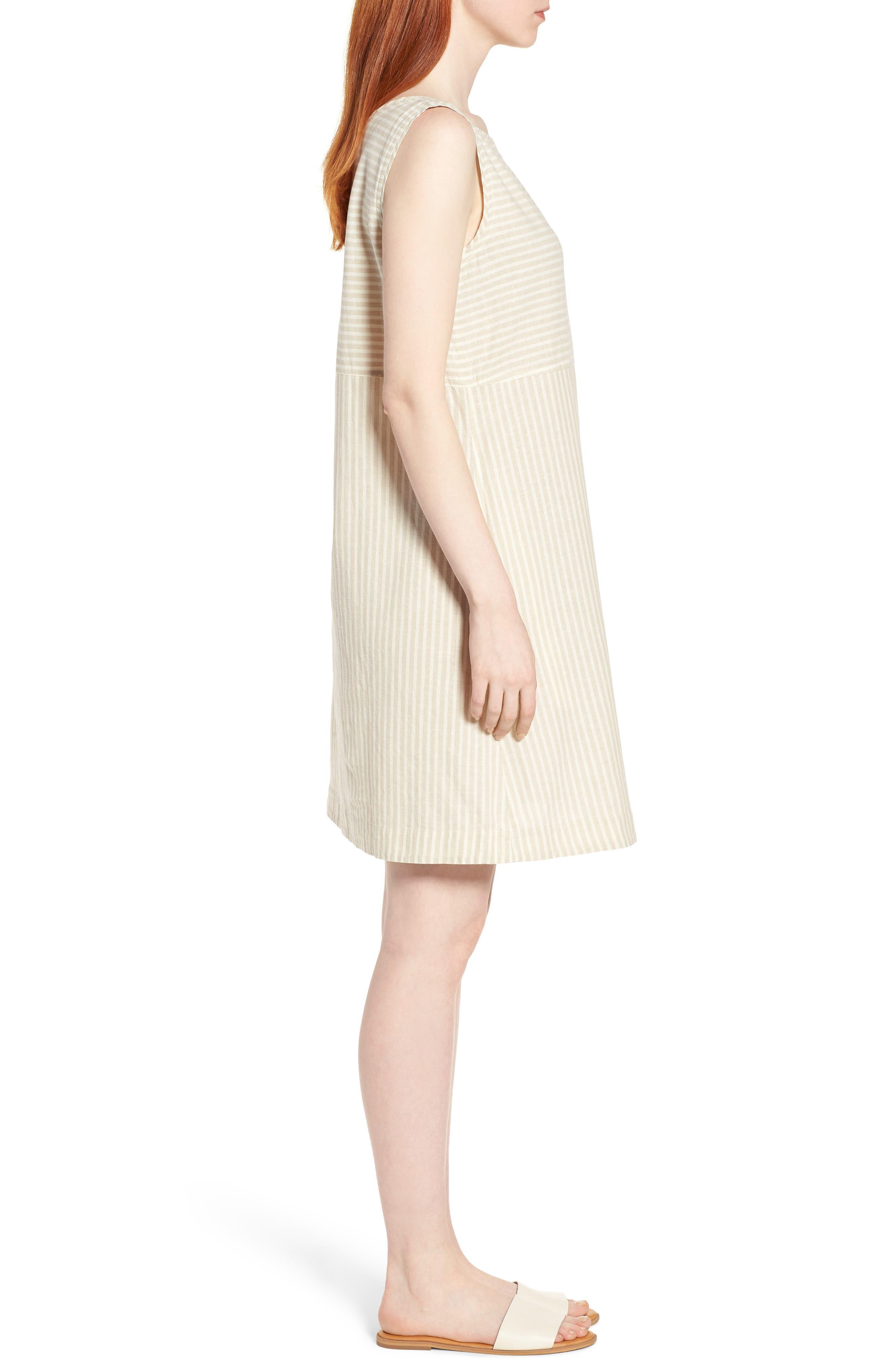 Varied Stripe Hemp & Organic Cotton Shift Dress,                             Alternate thumbnail 3, color,                             257