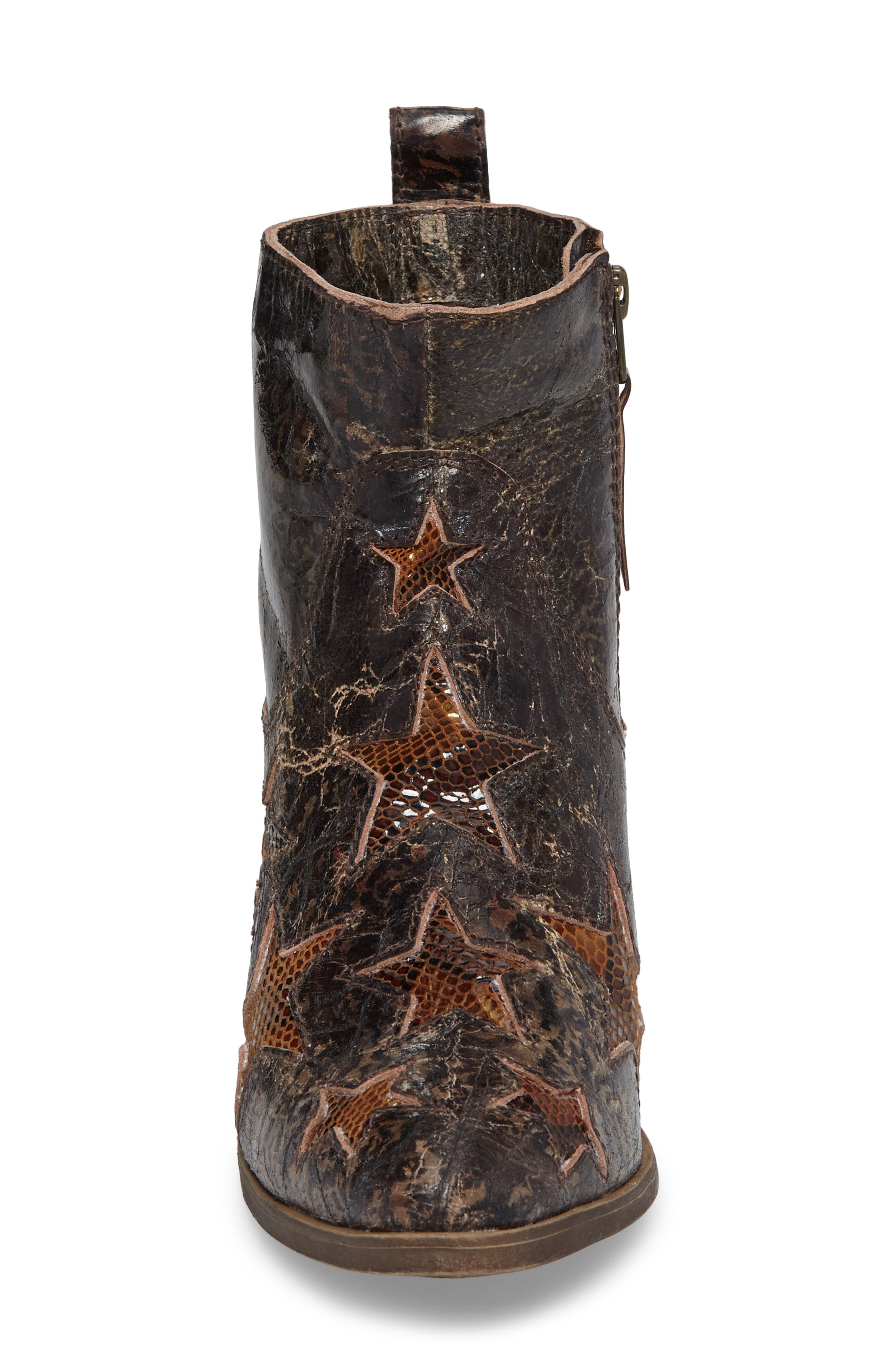 Crinkle Finish Star Bootie,                             Alternate thumbnail 4, color,                             MID BROWN LEATHER