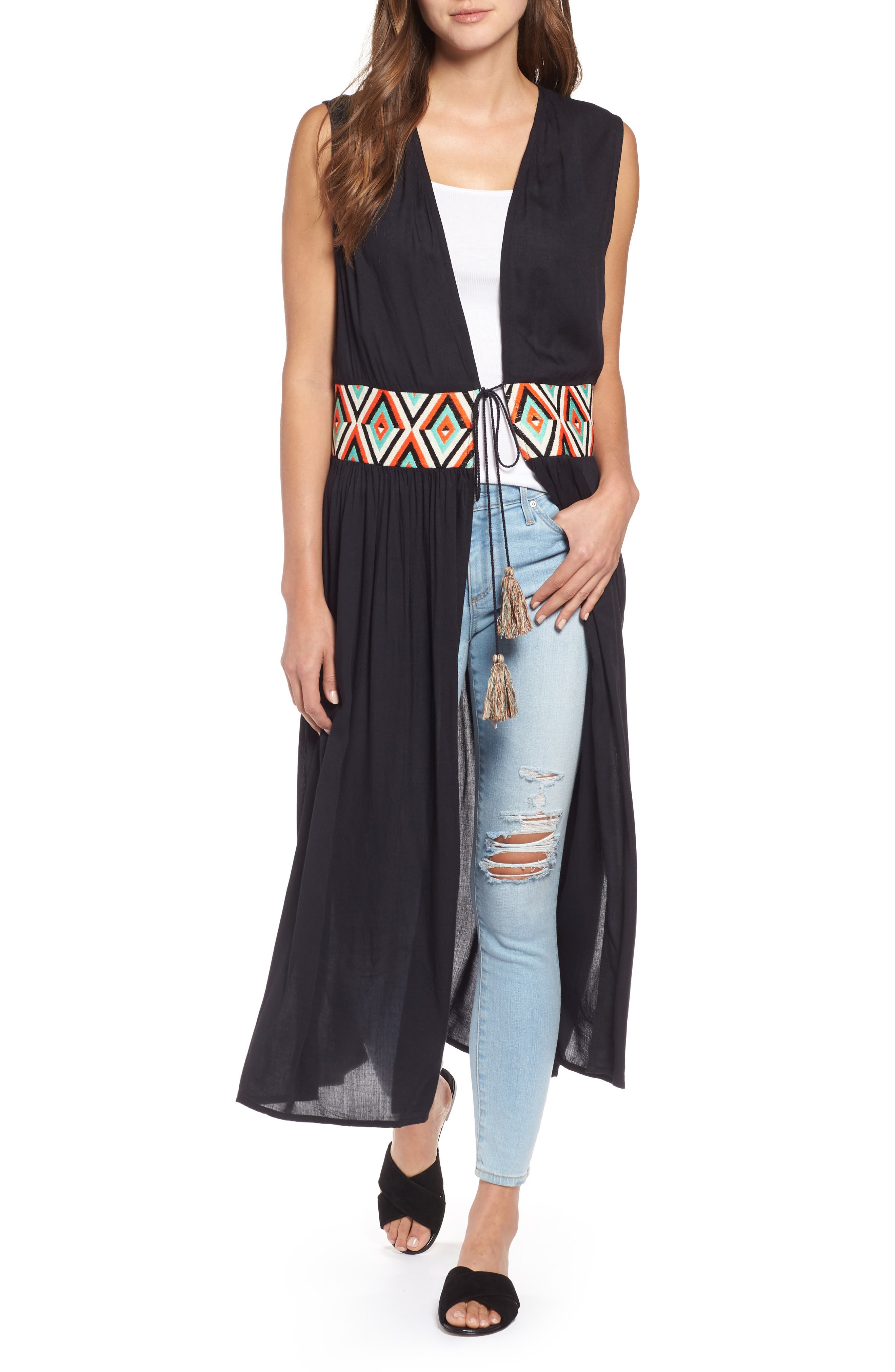 Chevron Waist Duster,                         Main,                         color, 001