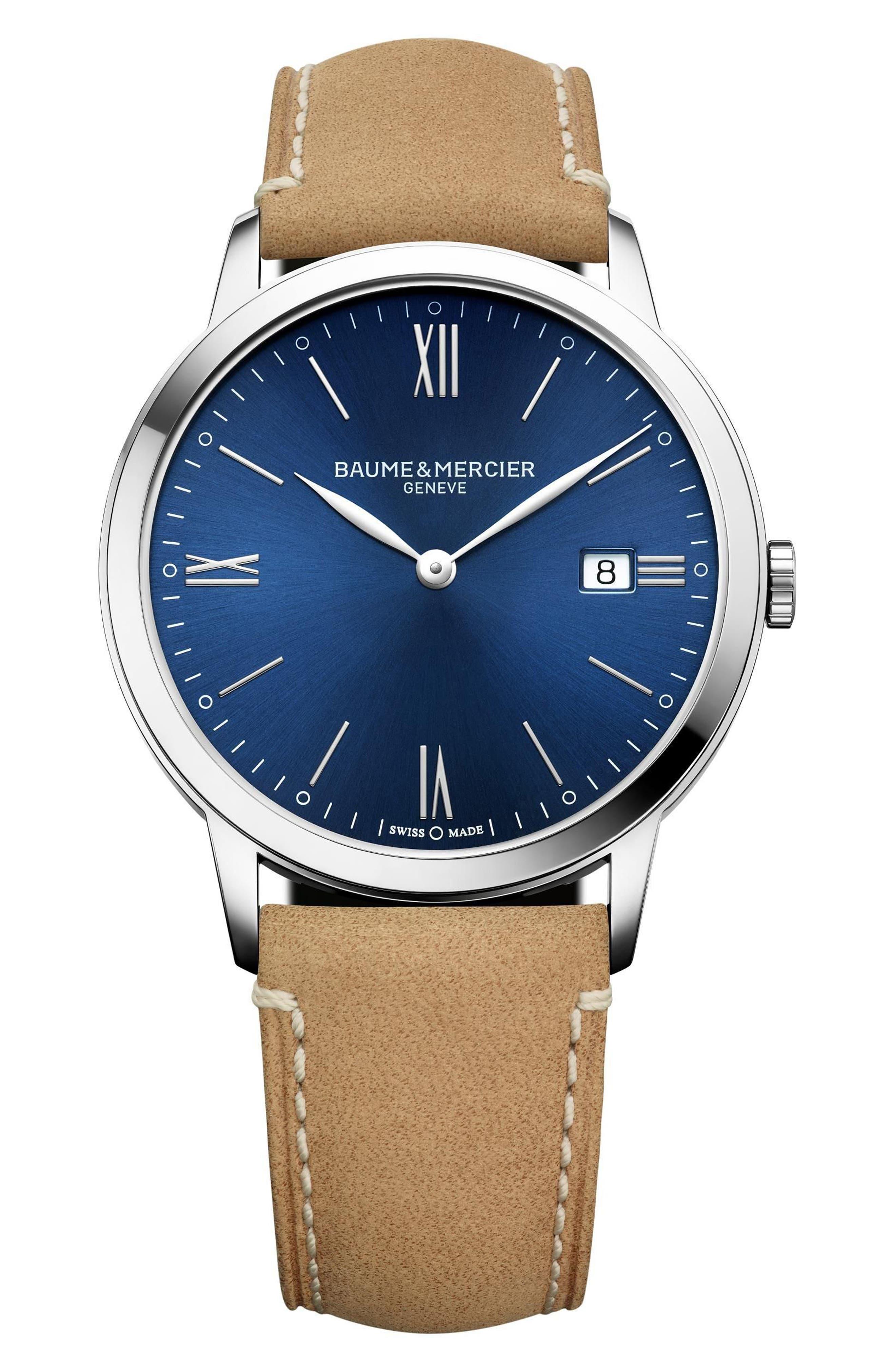 Baume & Mercier Classima Leather Strap Watch, 40mm,                             Main thumbnail 1, color,                             SILVER/ BLUE/ TAN