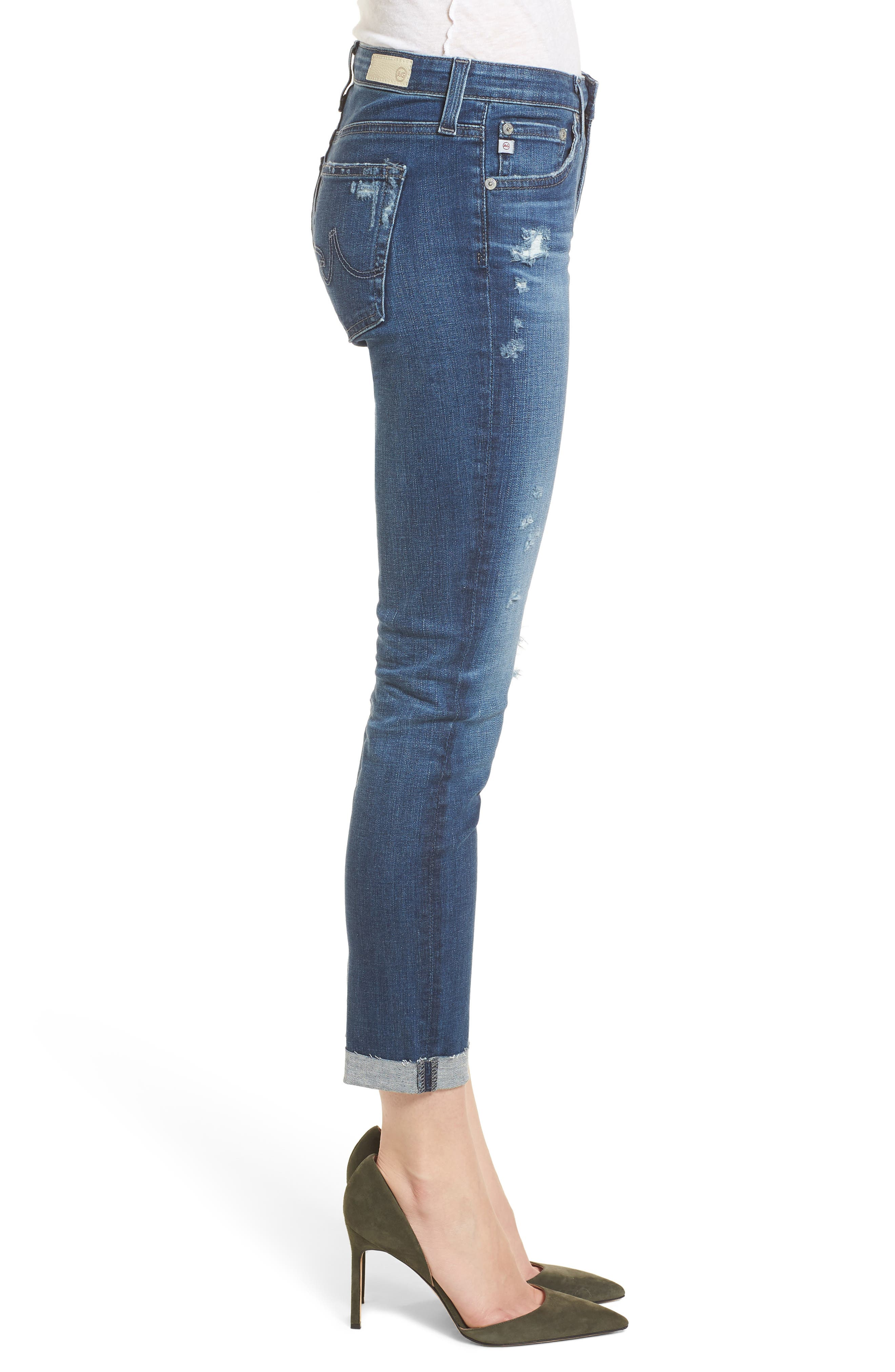 Prima Ripped Roll-Up Skinny Jeans,                             Alternate thumbnail 3, color,