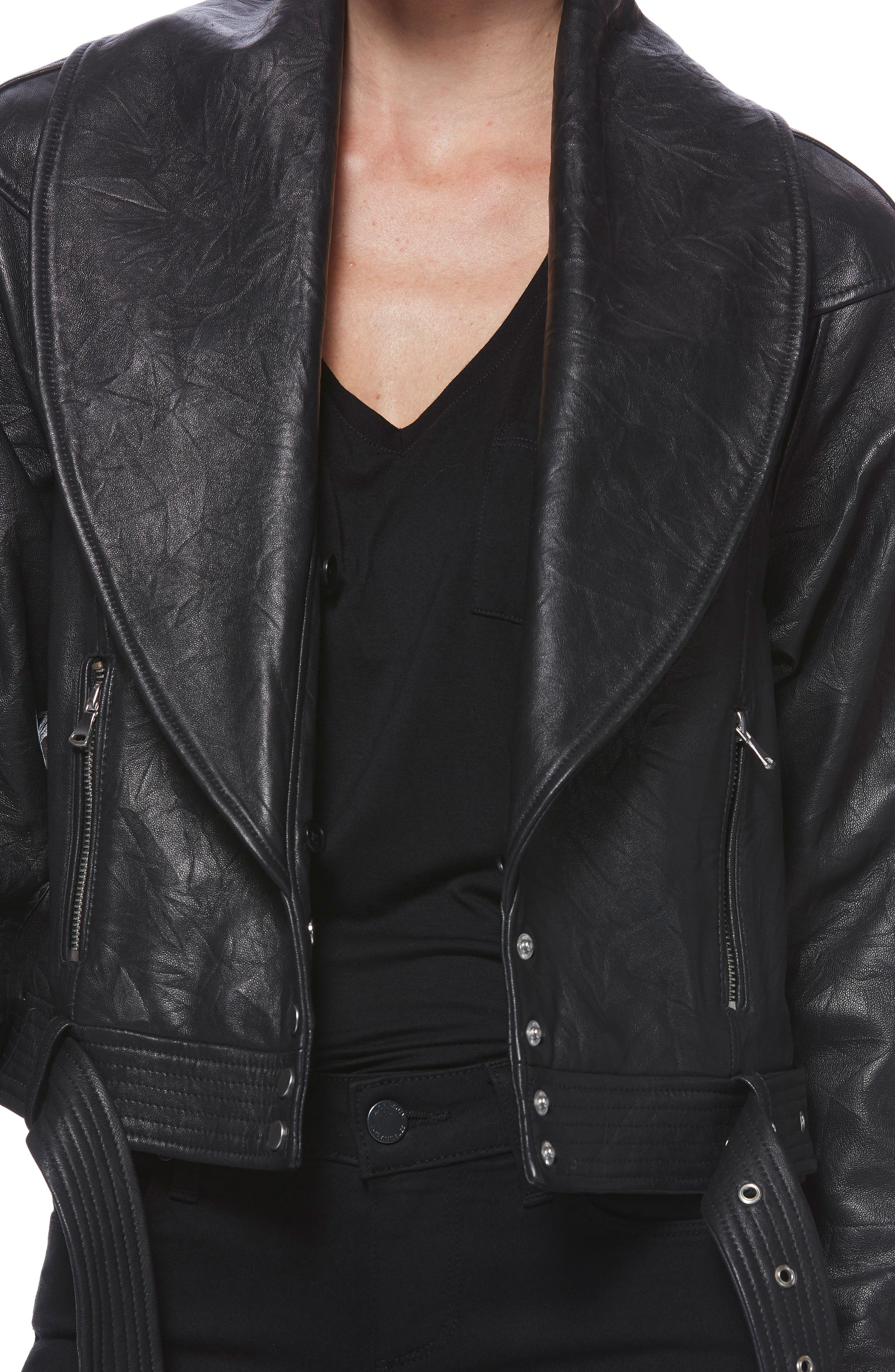 Rizza Lambskin Leather Moto Jacket with Removable Faux Fur Collar,                             Alternate thumbnail 9, color,                             BLACK