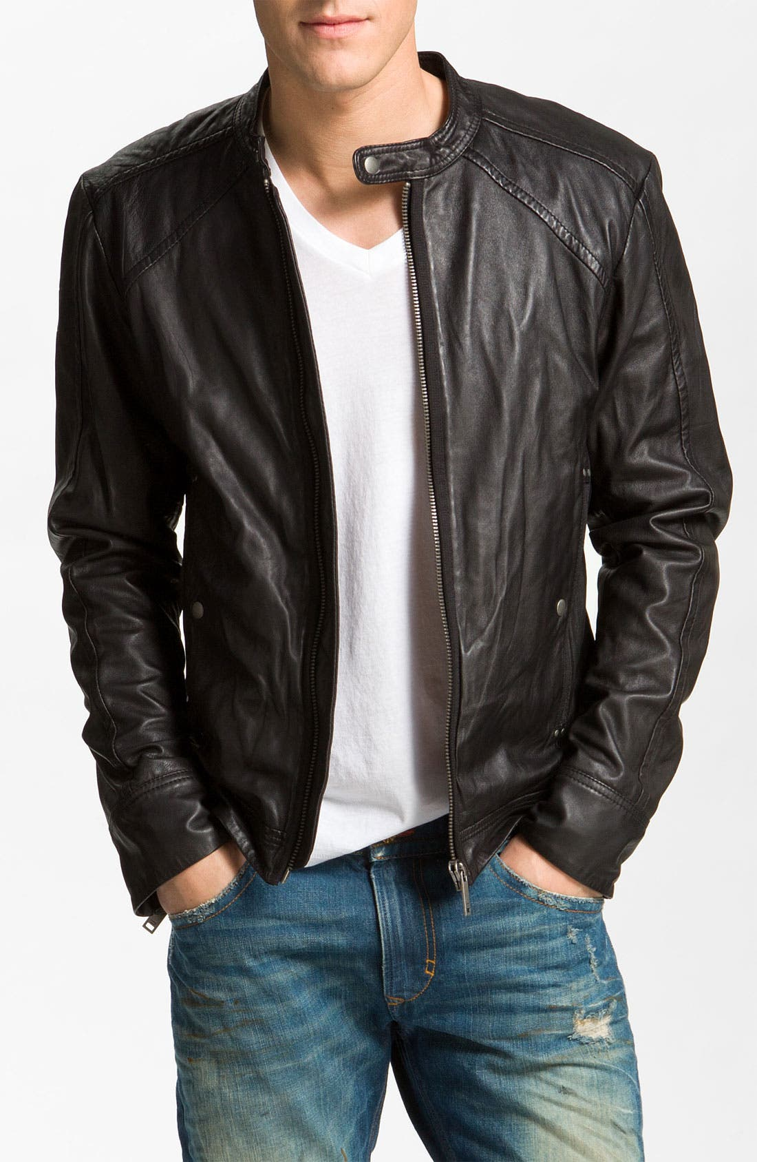 DIESEL<SUP>®</SUP>,                             'Leide' Extra Trim Fit Crinkled Leather Jacket,                             Main thumbnail 1, color,                             001