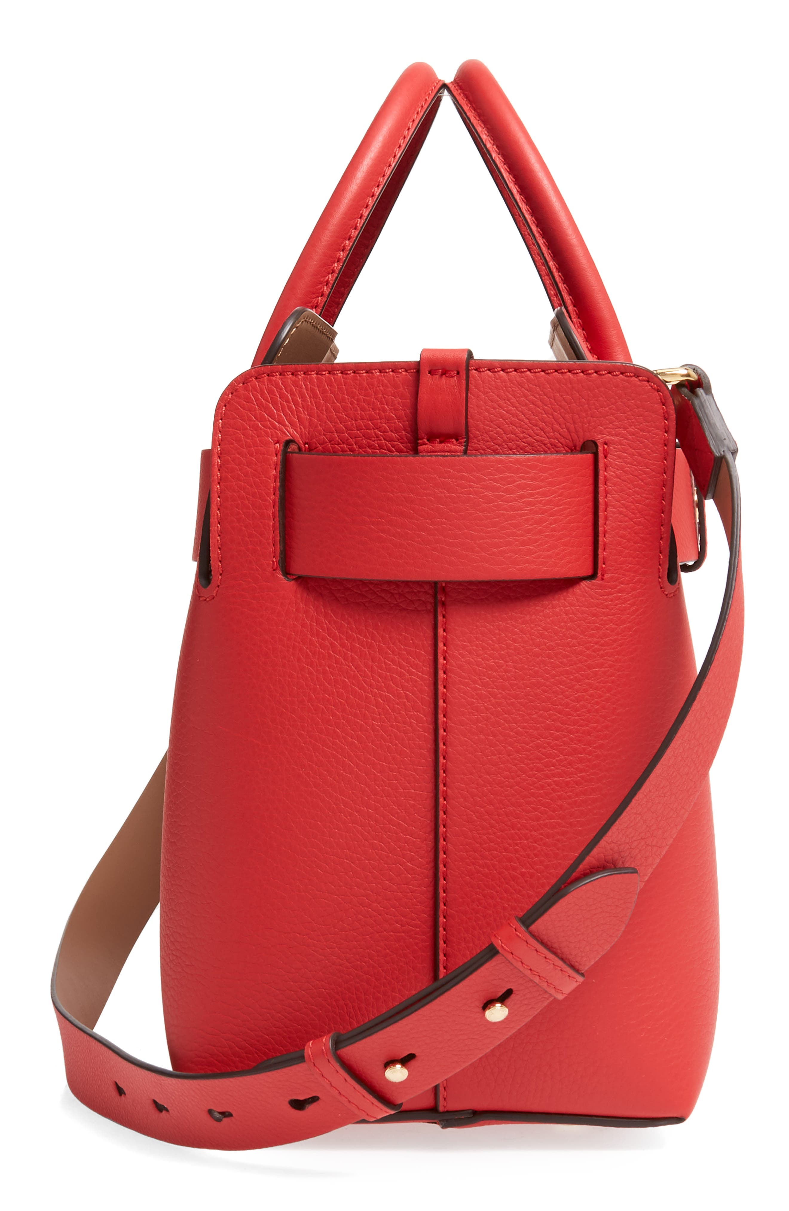 BURBERRY,                             Small Belt Leather Satchel,                             Alternate thumbnail 6, color,                             BRIGHT MILITARY RED