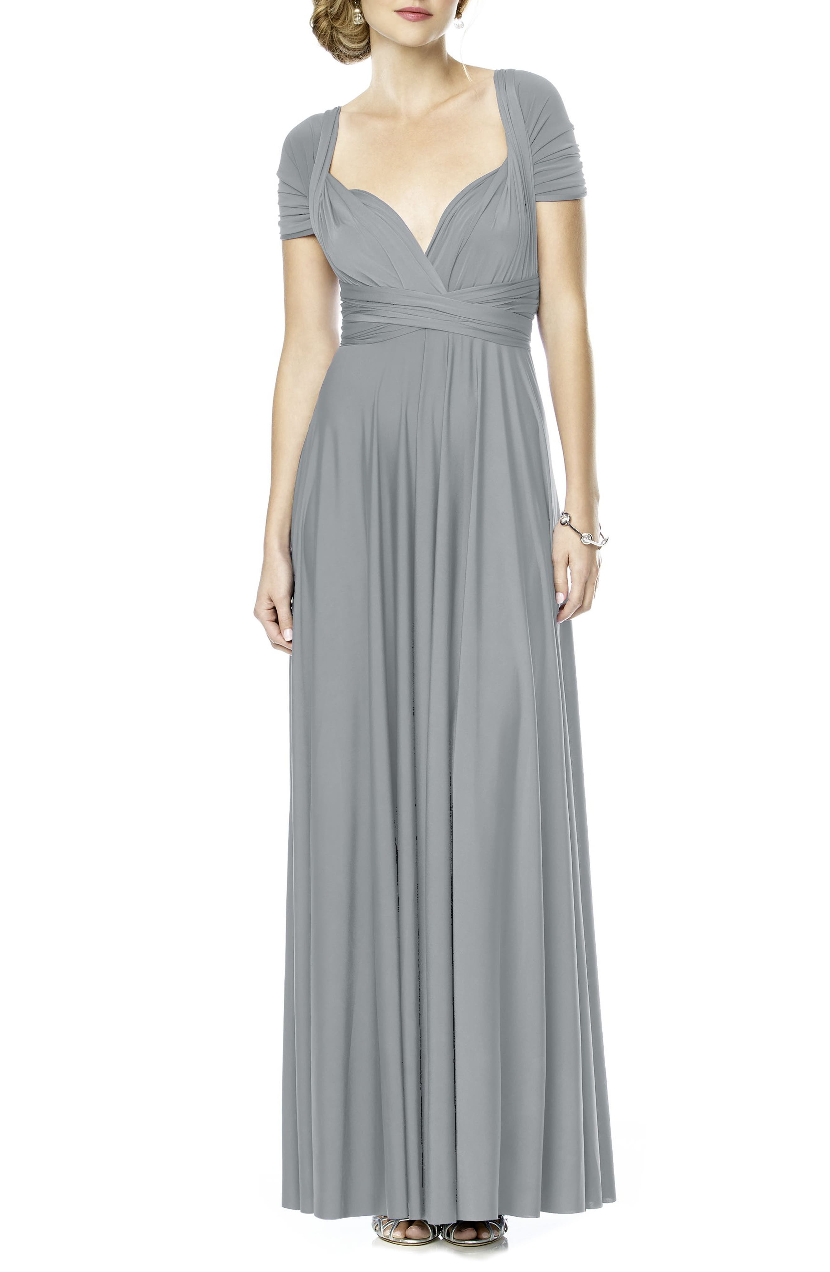 DESSY COLLECTION Convertible Wrap Tie Surplice Jersey Gown, Main, color, 033