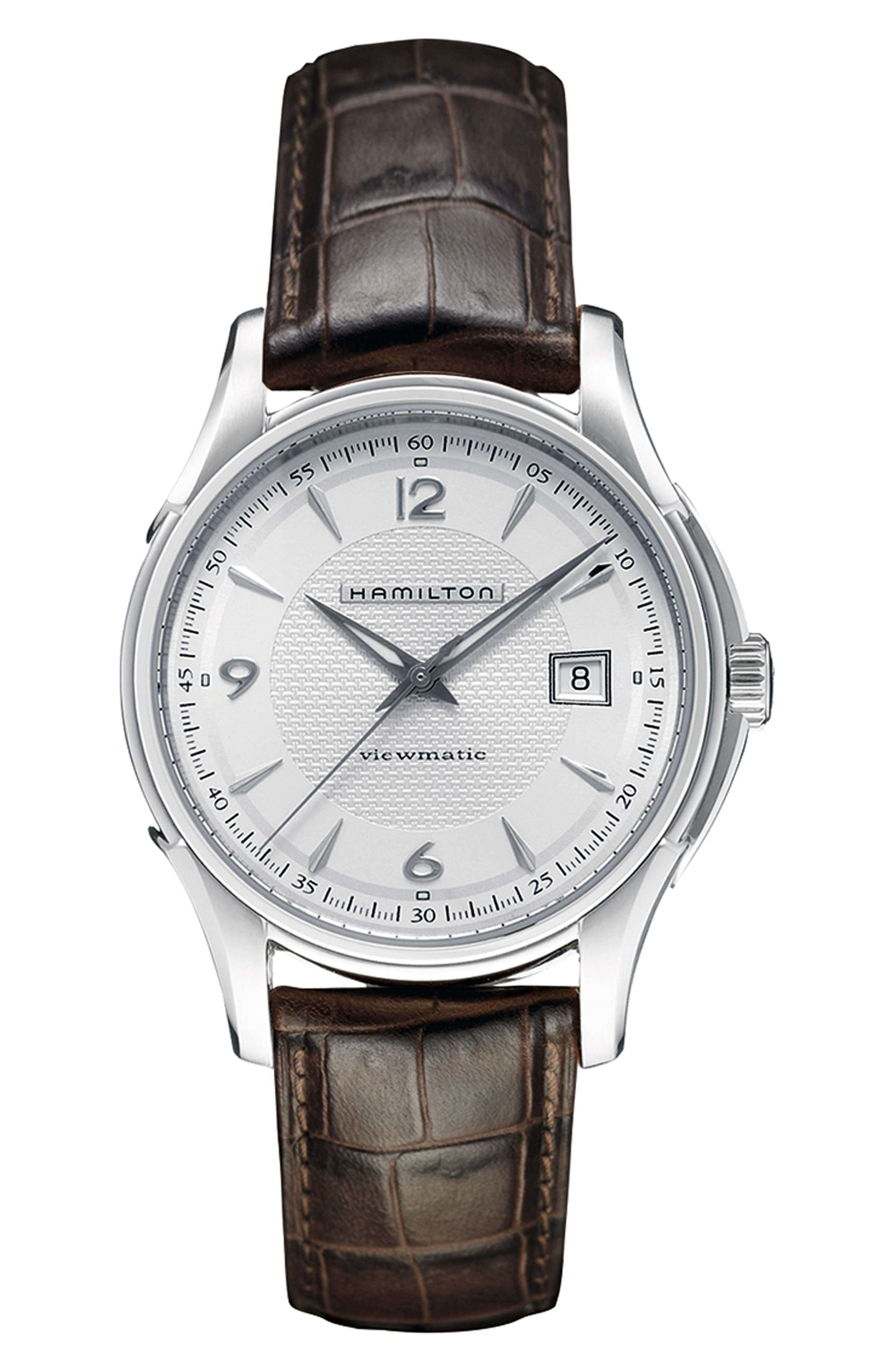 Jazzmaster Viewmatic Auto Leather Strap Watch, 40mm,                             Main thumbnail 1, color,                             BROWN/ SILVER