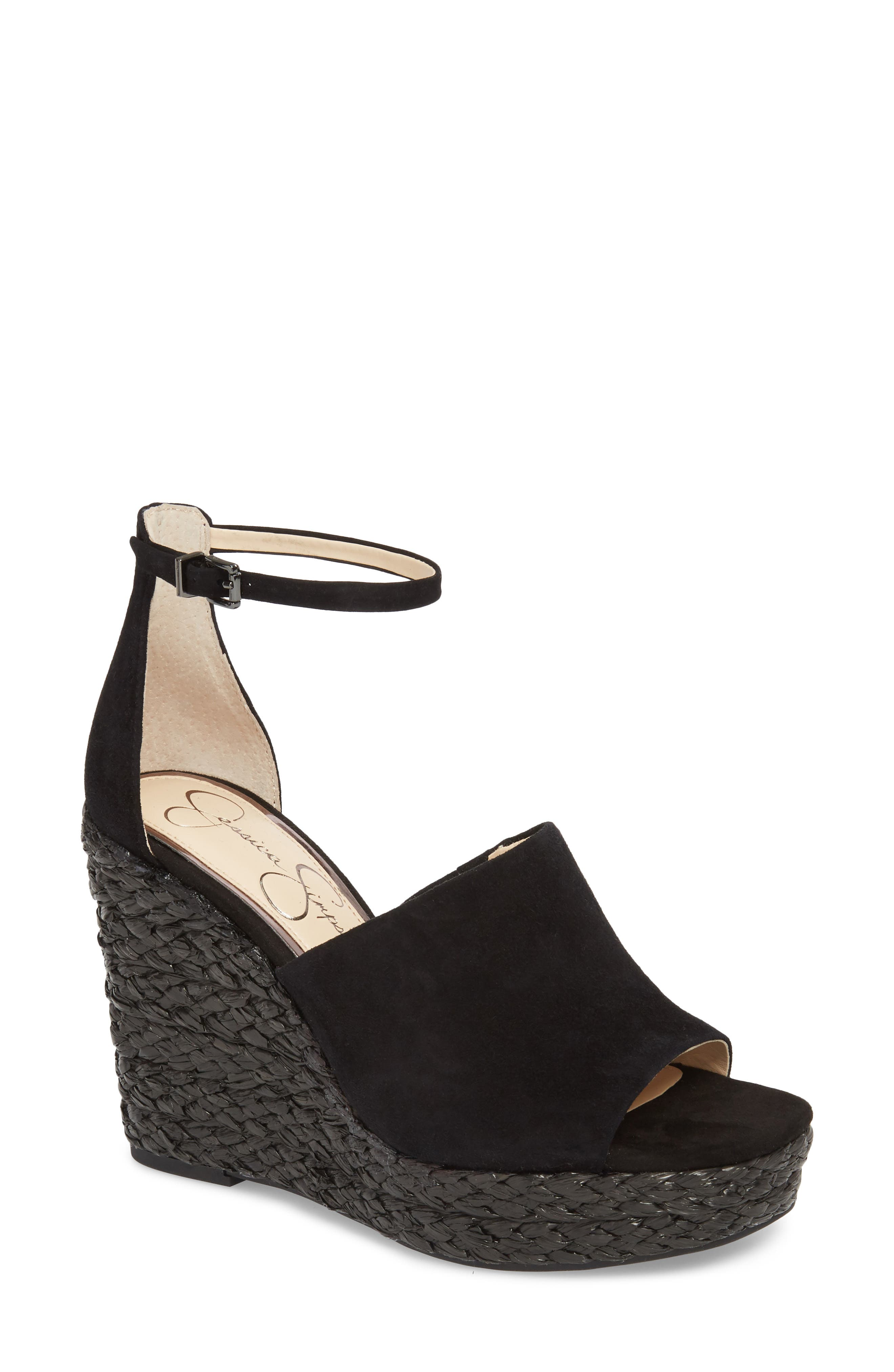Suella Wedge Sandal,                         Main,                         color, 001