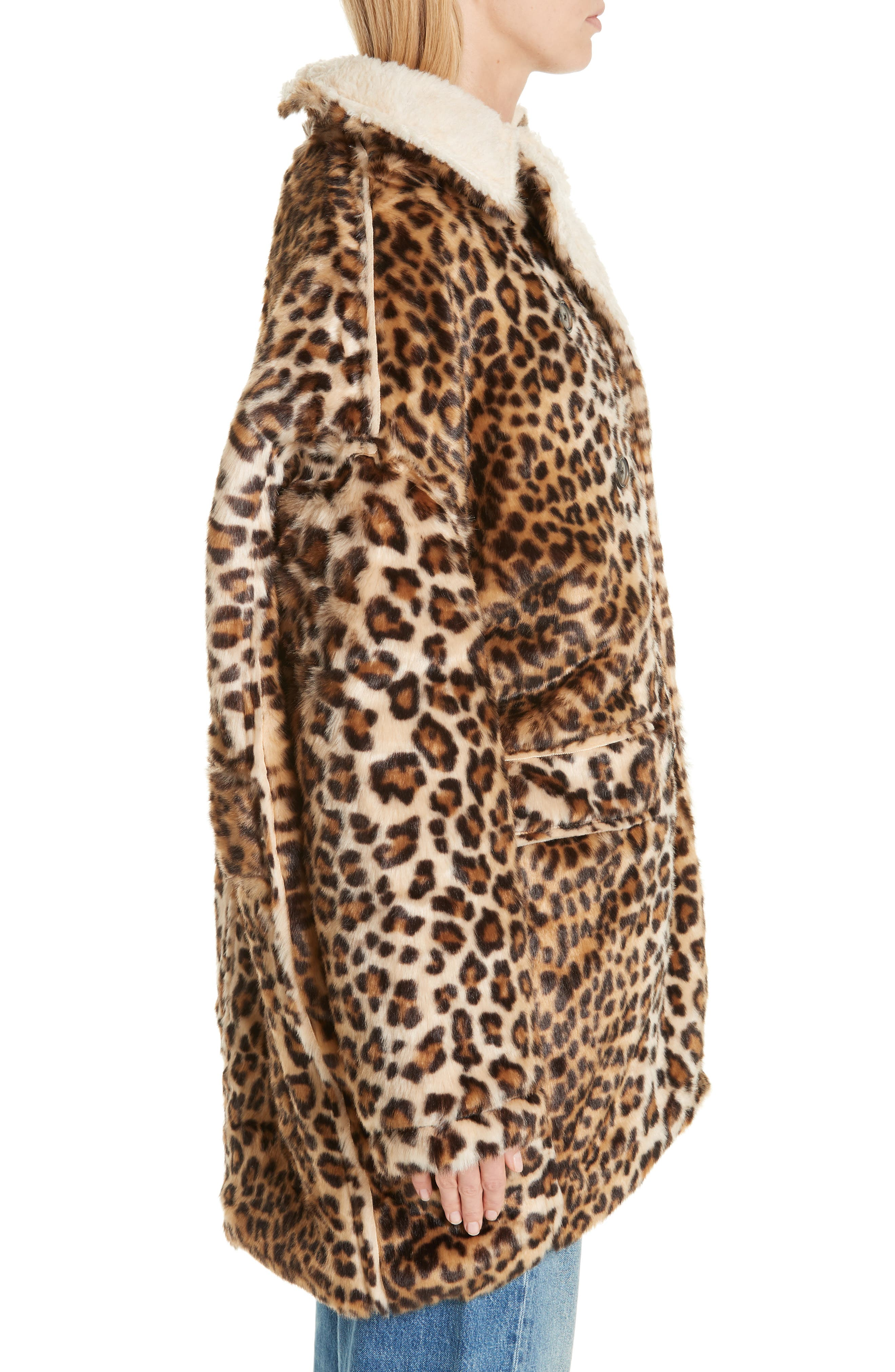R13,                             Oversize Faux Leopard Hunting Coat,                             Alternate thumbnail 3, color,                             242