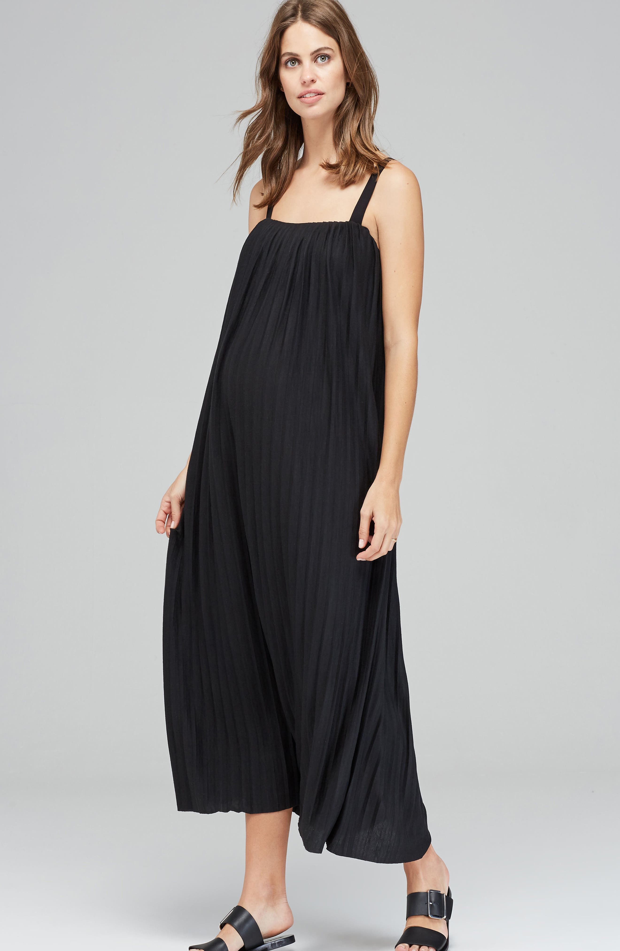 Justine Pleated Maternity Dress,                         Main,                         color, 001