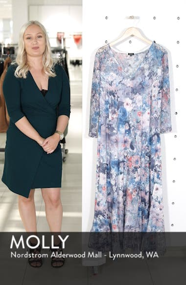 Inset Floral Charmeuse & Chiffon A-Line Dress, sales video thumbnail
