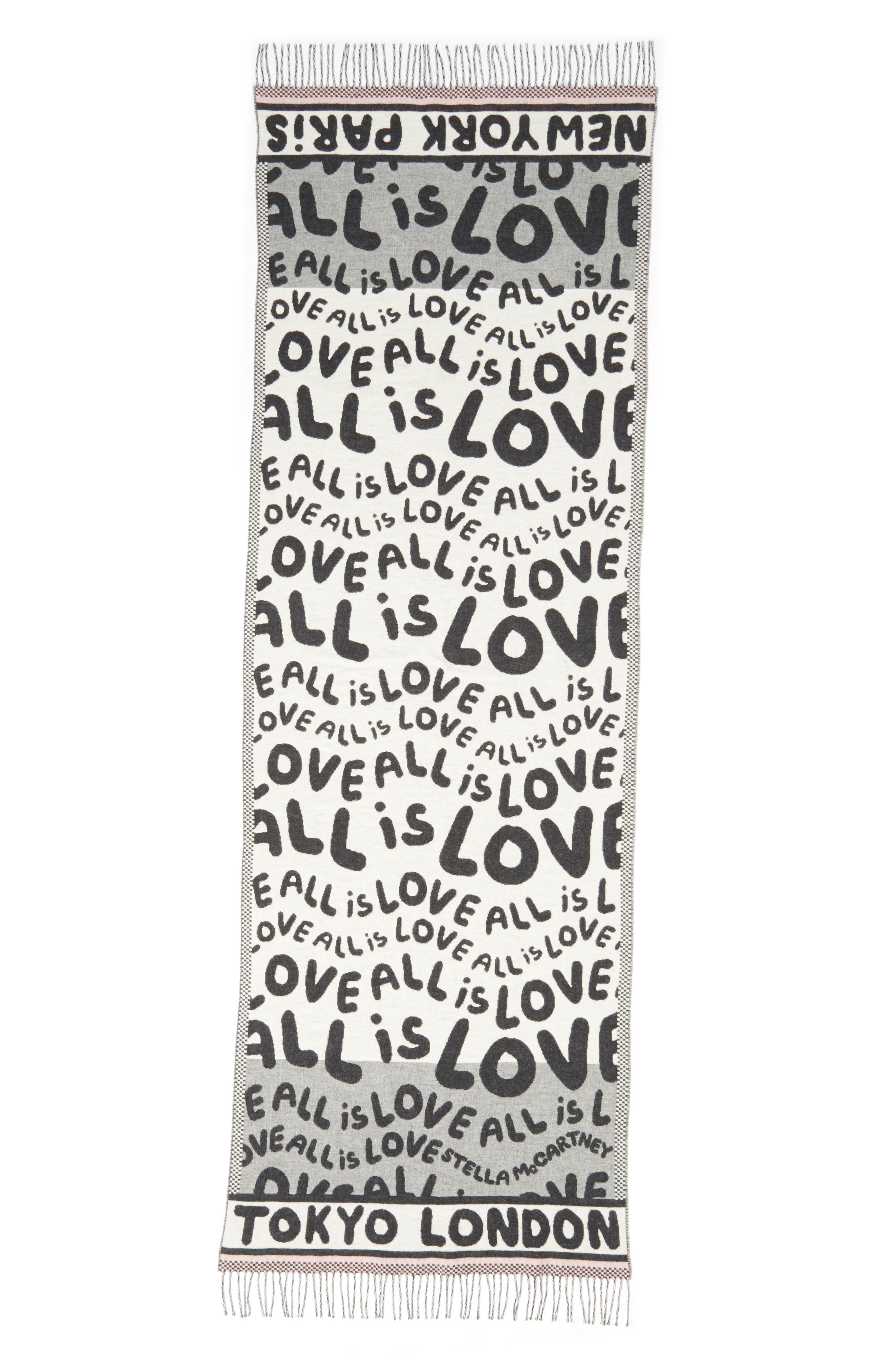 STELLA MCCARTNEY,                             All Is Love Wool & Cashmere Scarf,                             Main thumbnail 1, color,                             GREY MELANGE