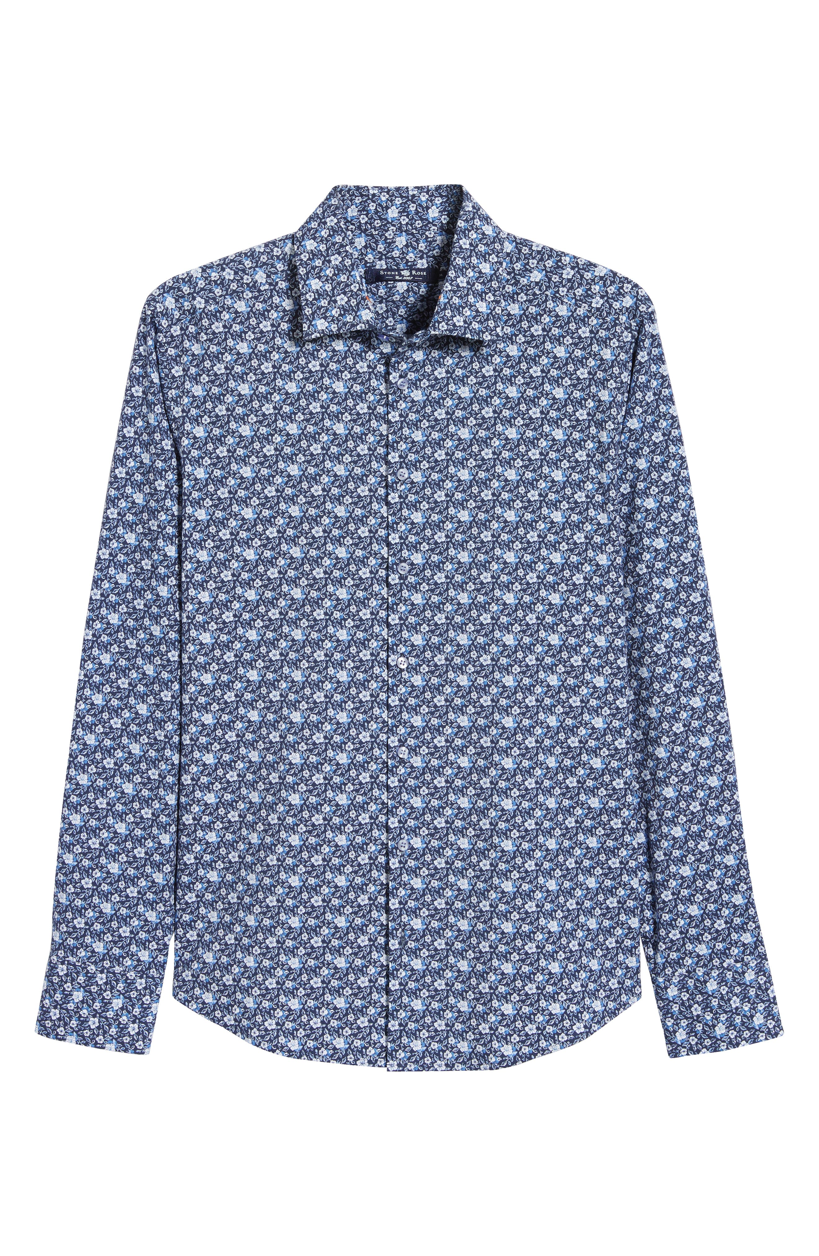 Regular Fit Floral Print Knit Sport Shirt,                             Alternate thumbnail 5, color,                             NAVY