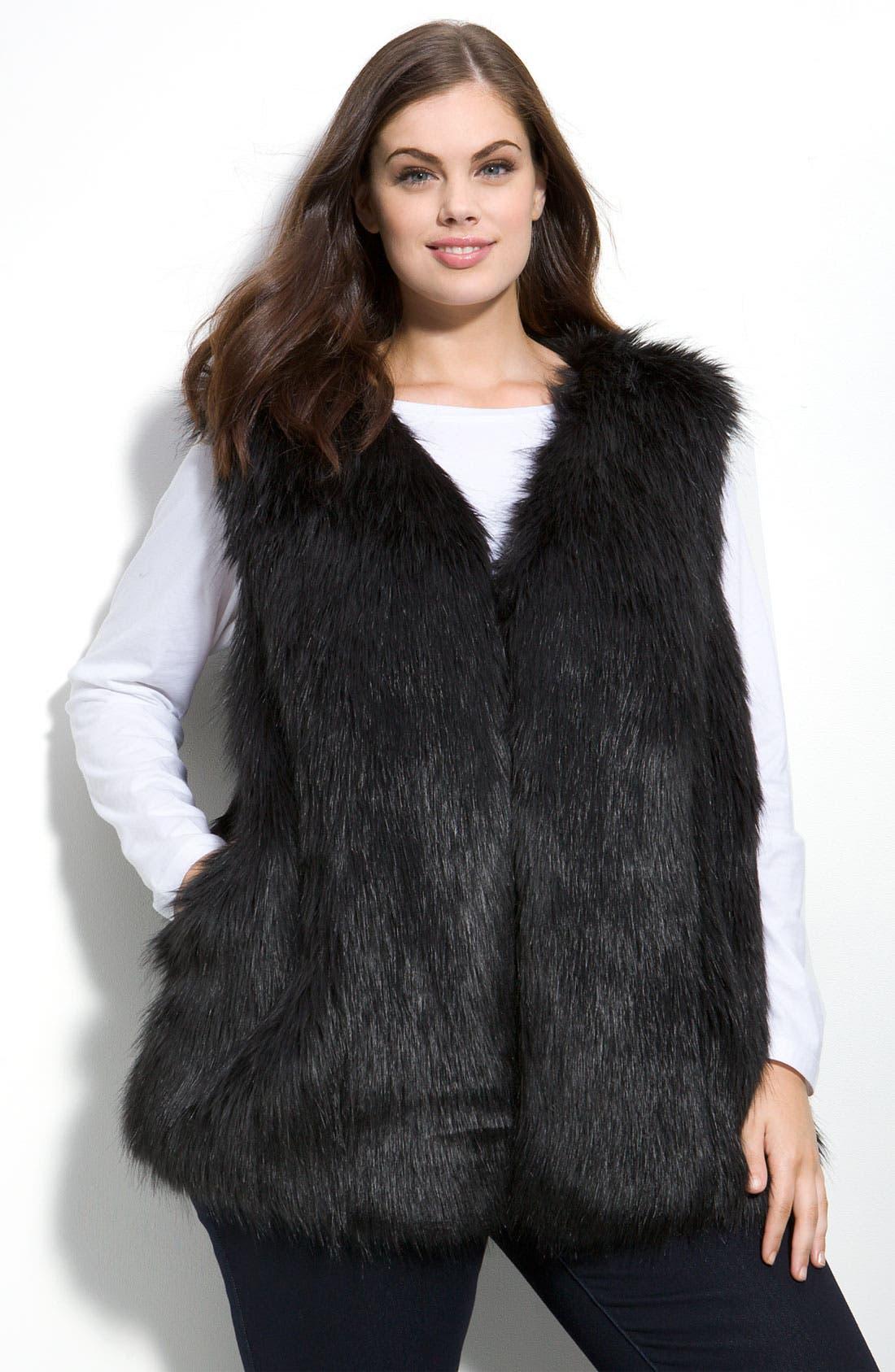 DKNYC Faux Fur Vest, Main, color, 001