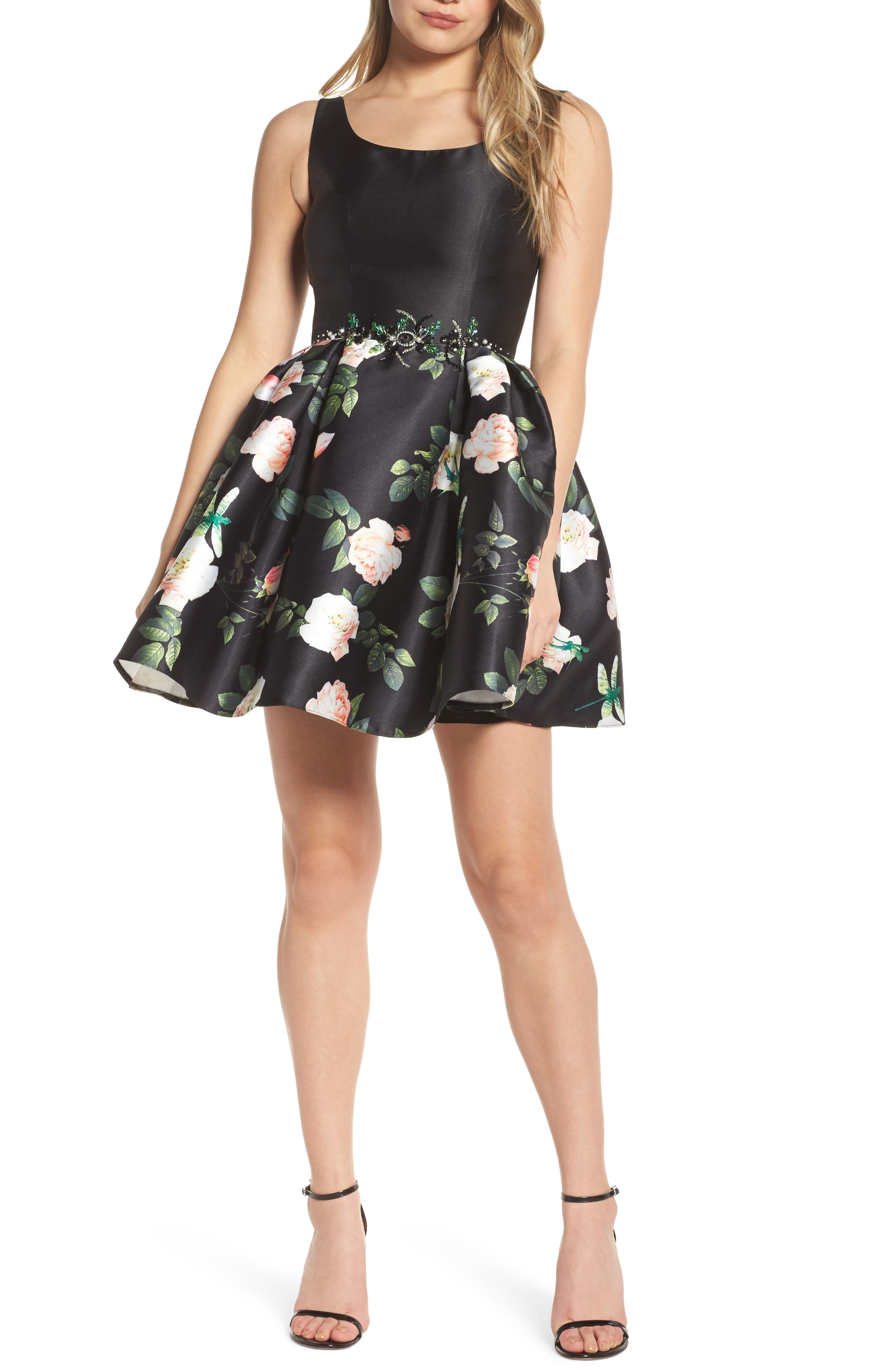 Floral Fit & Flare Dress,                             Main thumbnail 1, color,