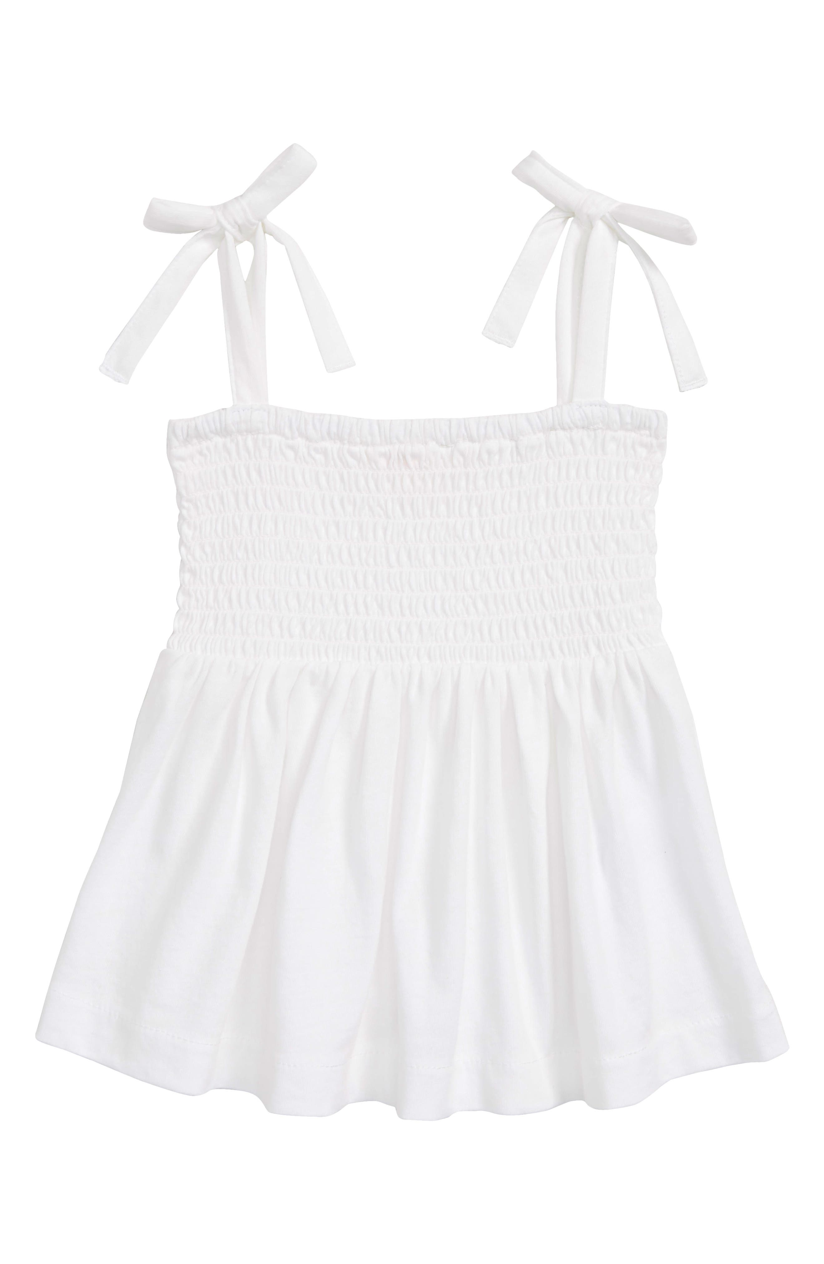 Smocked Top,                         Main,                         color, WHITE