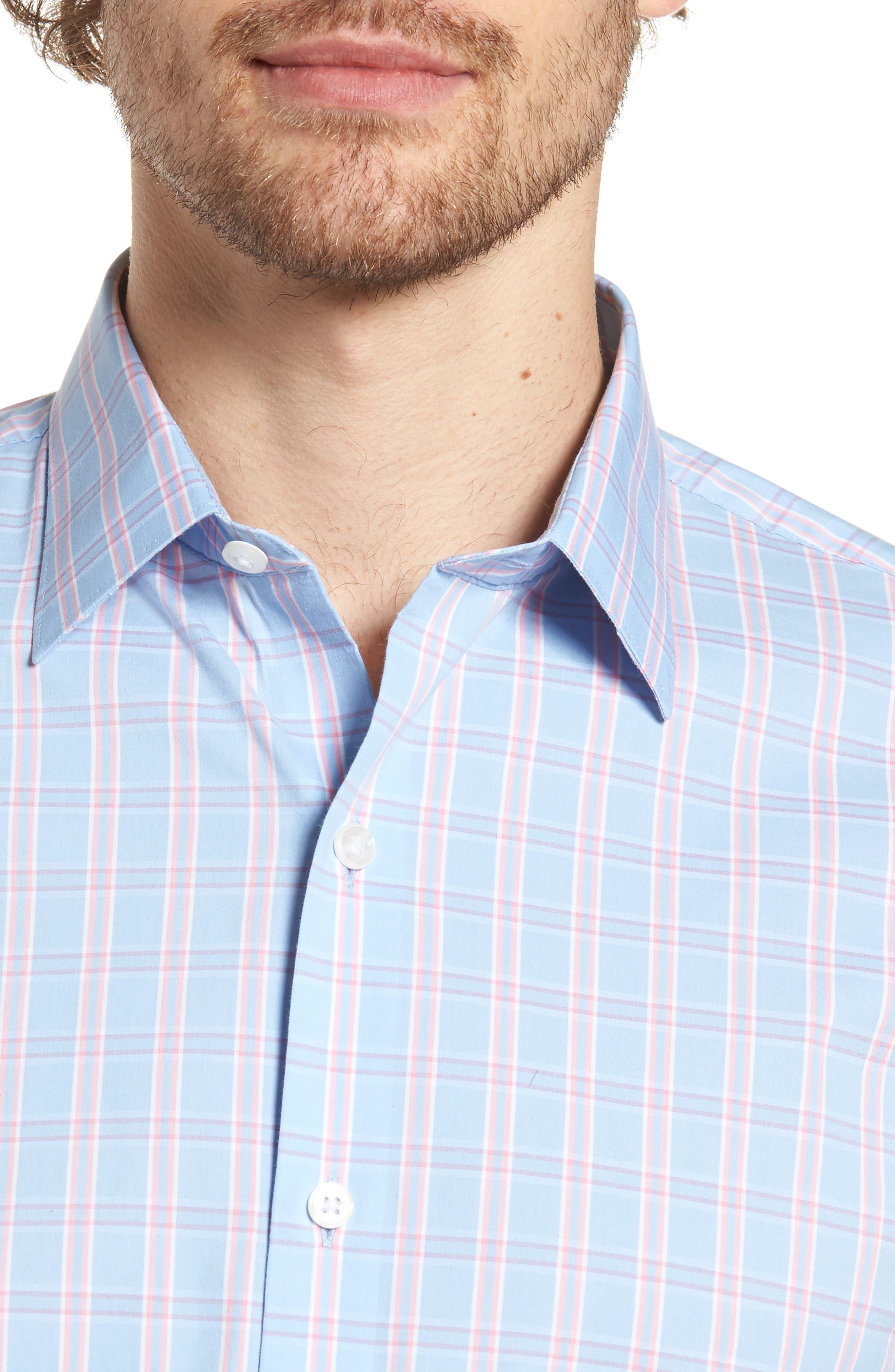 Unbutton Down 2.0 Slim Fit Check Sport Shirt,                             Alternate thumbnail 4, color,                             400