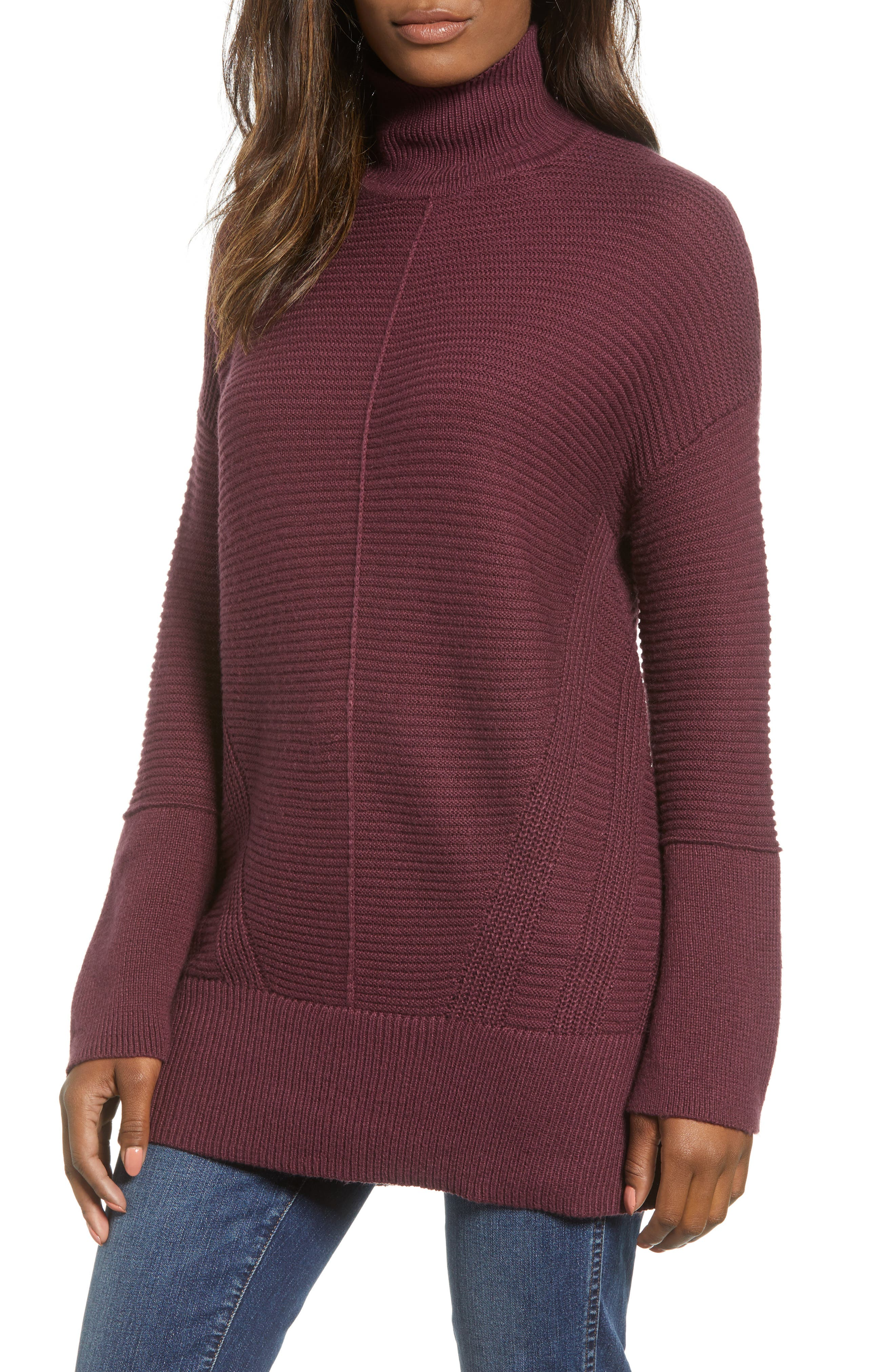 Ribbed Turtleneck Tunic Sweater,                             Main thumbnail 1, color,                             BURGUNDY FIG