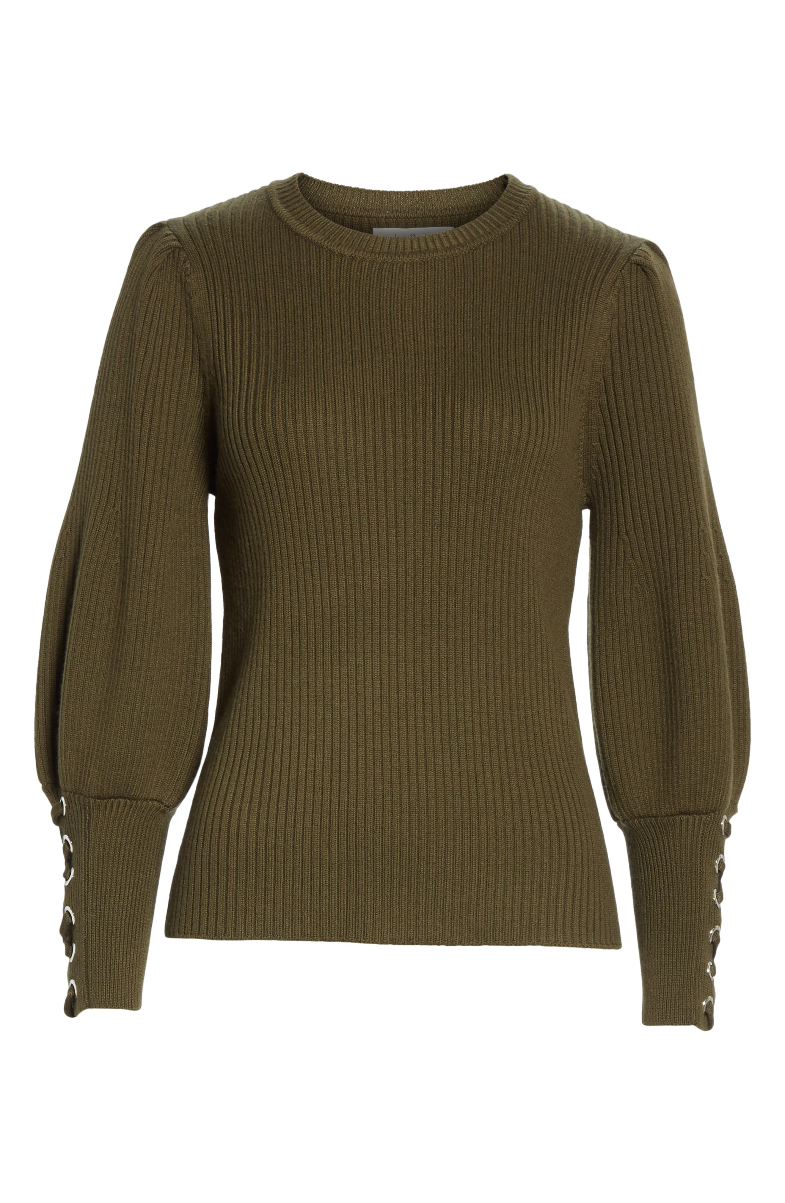 Zelie Lace-Up Cuff Wool Sweater,                             Alternate thumbnail 6, color,                             KAKI