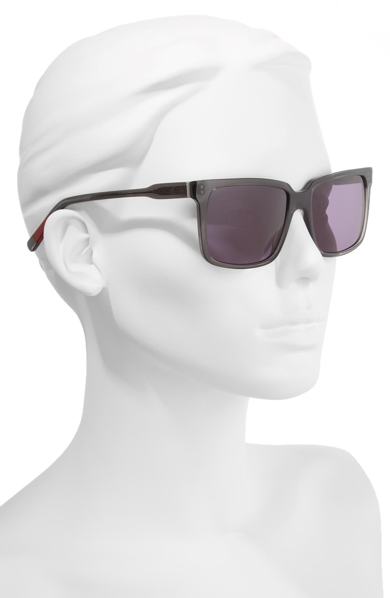 56mm Gradient Square Sunglasses,                             Alternate thumbnail 2, color,                             DARK GREY