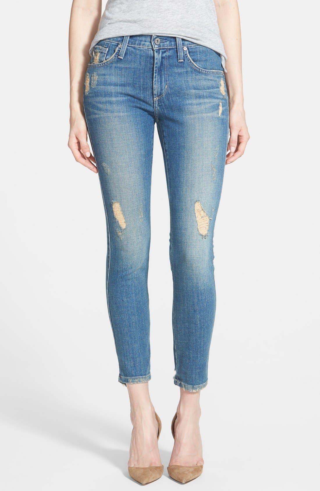 'Twiggy' Ankle Skinny Jeans, Main, color, 400
